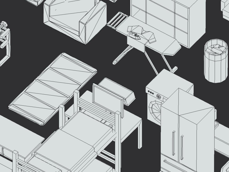 100 object Isometric Home Office Furniture Fitness 3d model max 3ds max plugin fbx ma mb png obj