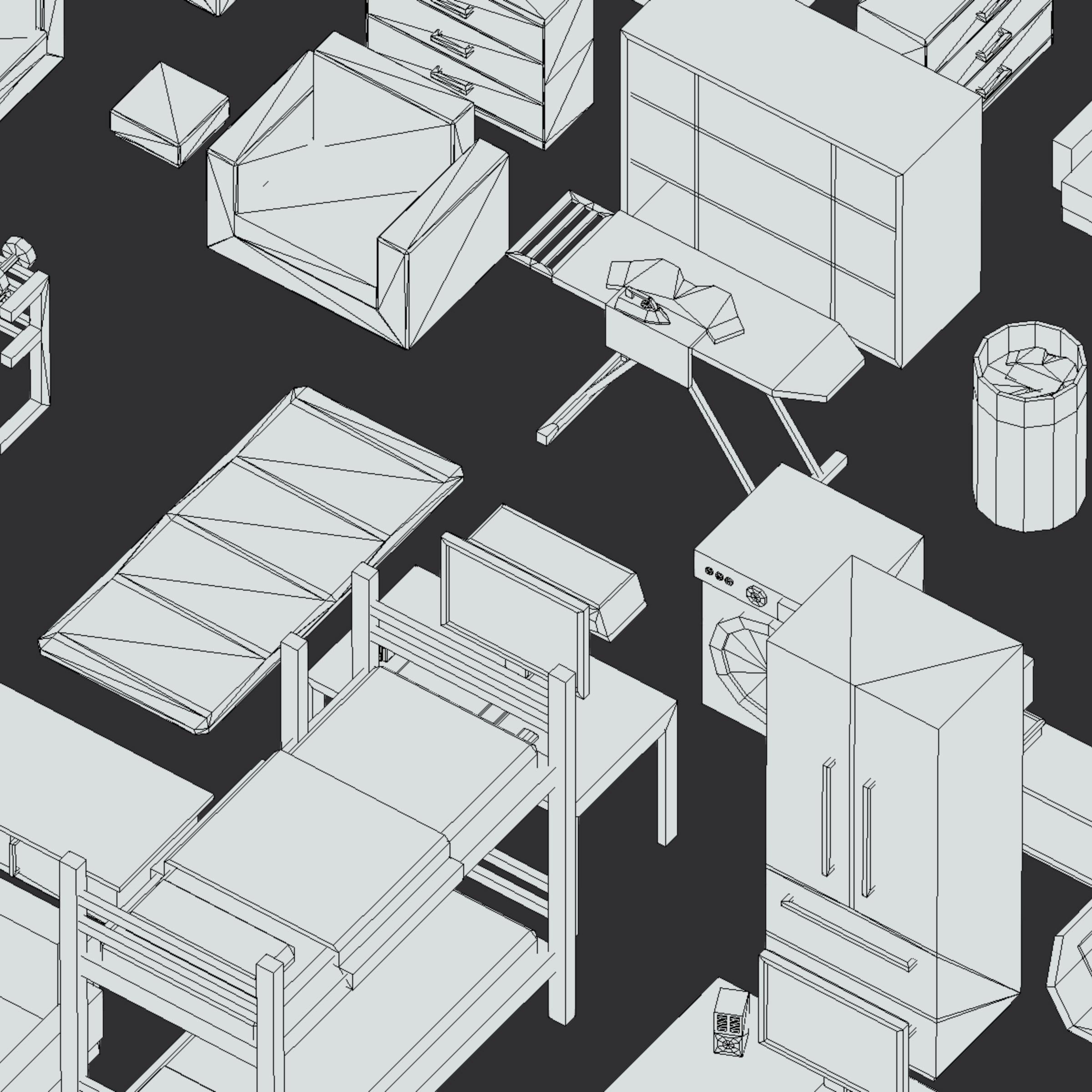100 object Isometric Home Office Furniture Fitness 3d model max 3ds max plugin fbx ma mb png obj 271931
