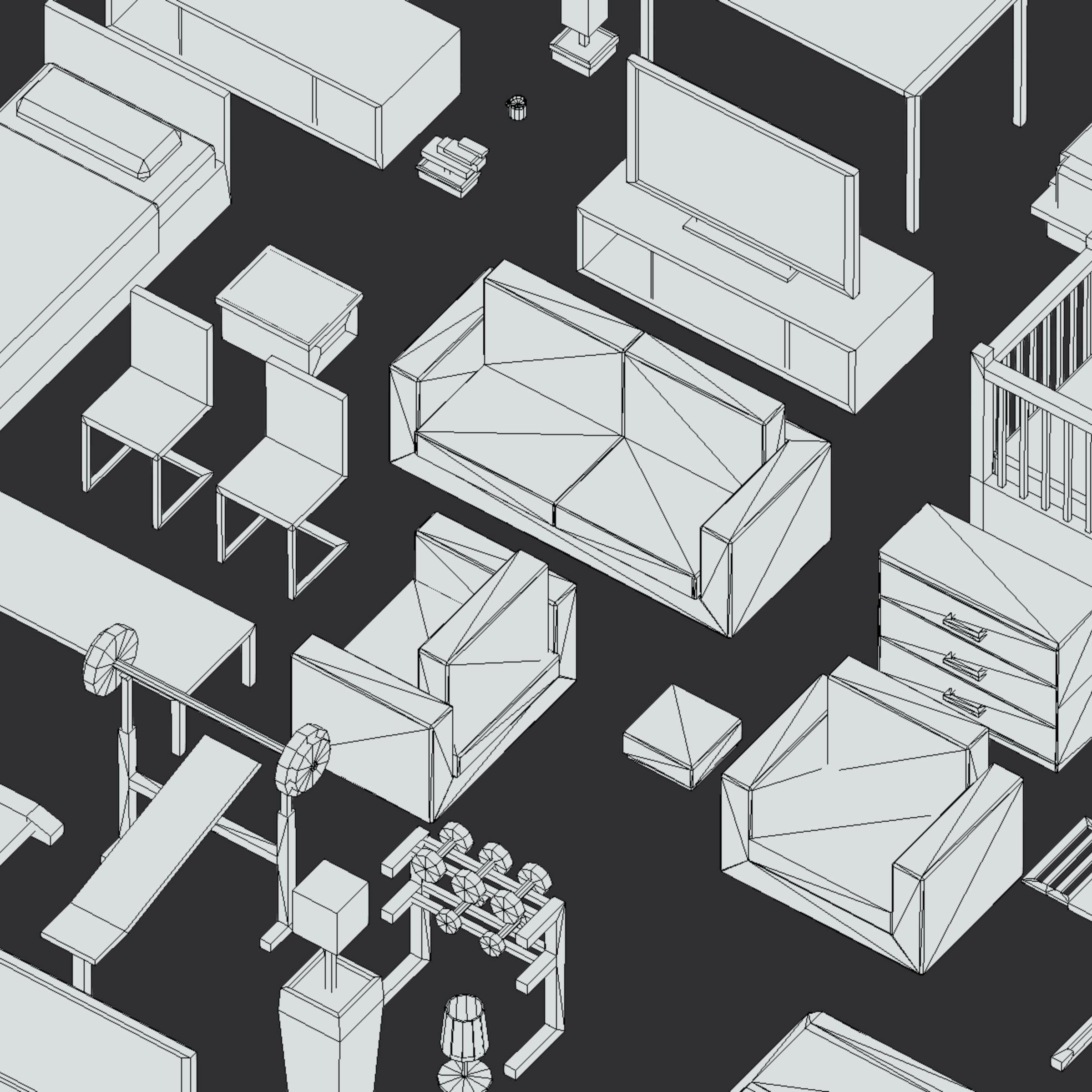 100 object Isometric Home Office Furniture Fitness 3d model max 3ds max plugin fbx ma mb png obj 271932