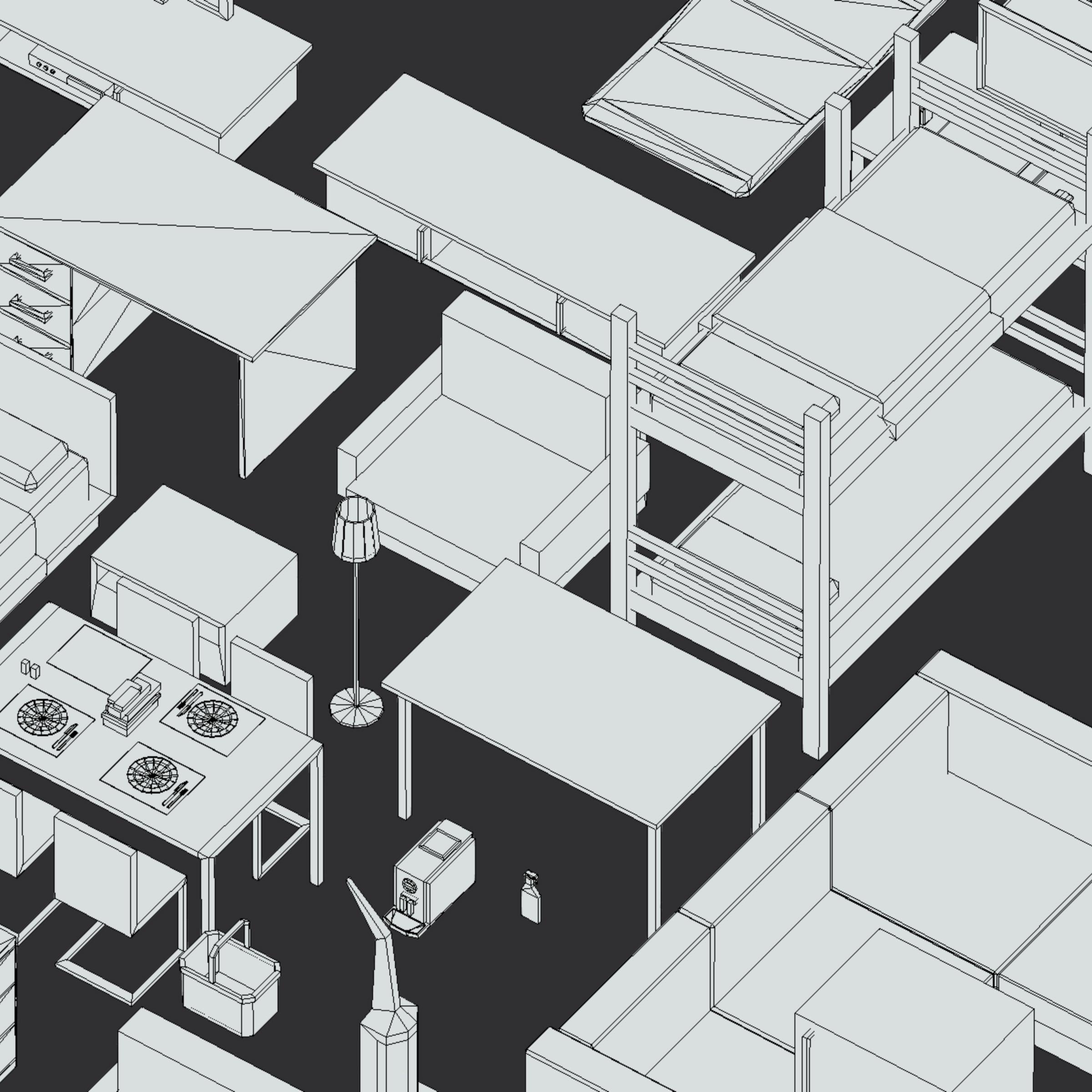 100 object Isometric Home Office Furniture Fitness 3d model max 3ds max plugin fbx ma mb png obj 271934
