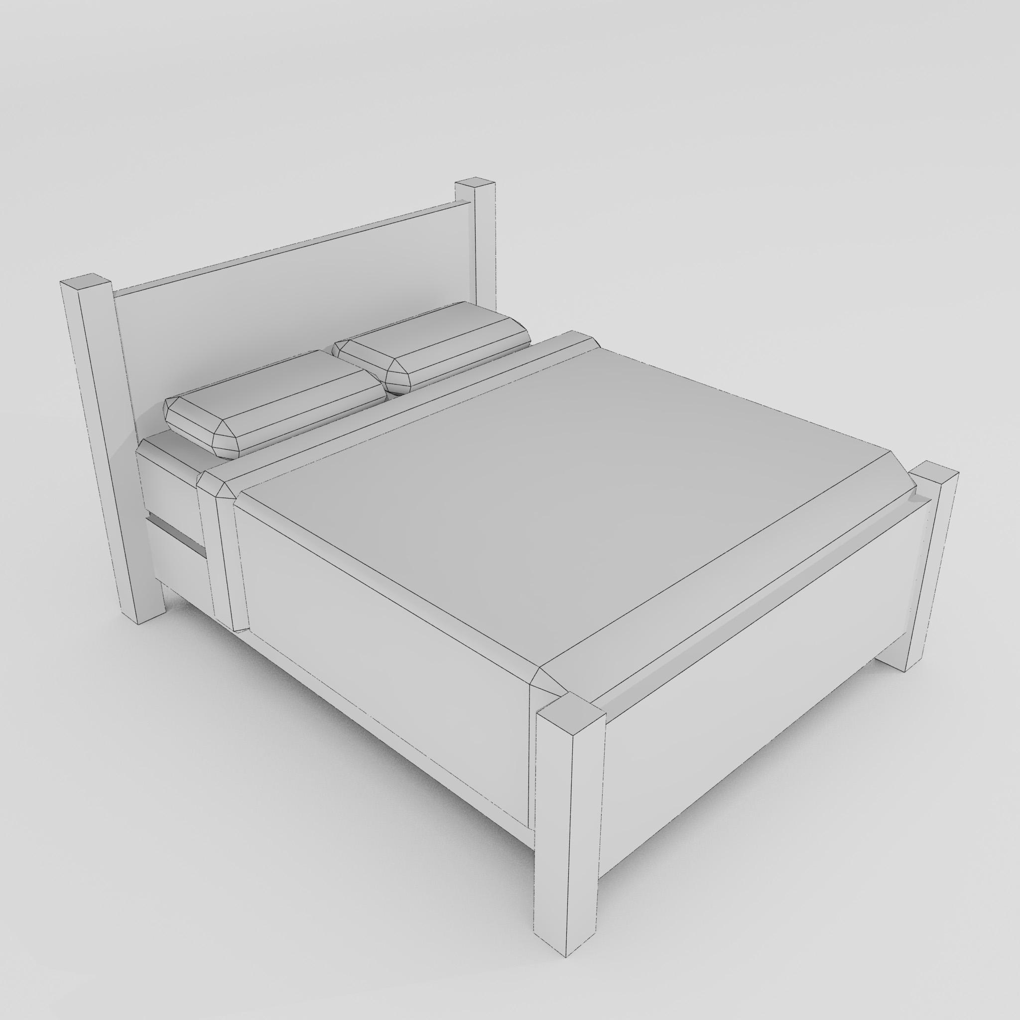 double bed 3d model 3ds max fbx obj 271945