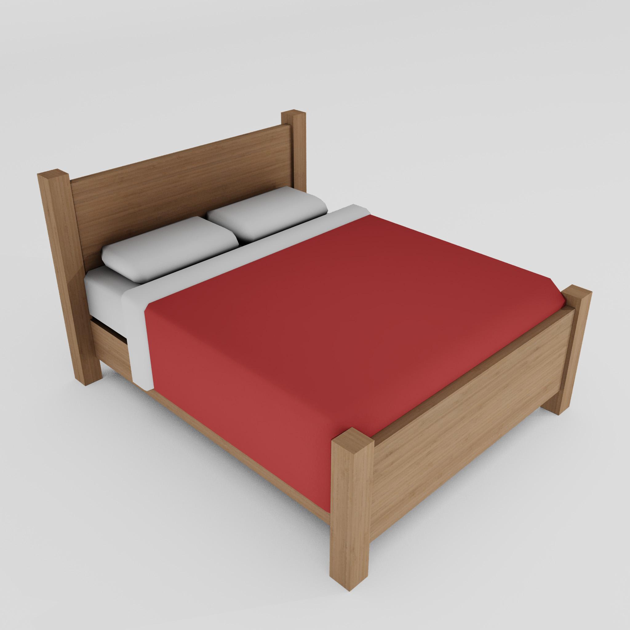 double bed 3d model 3ds max fbx obj 271946