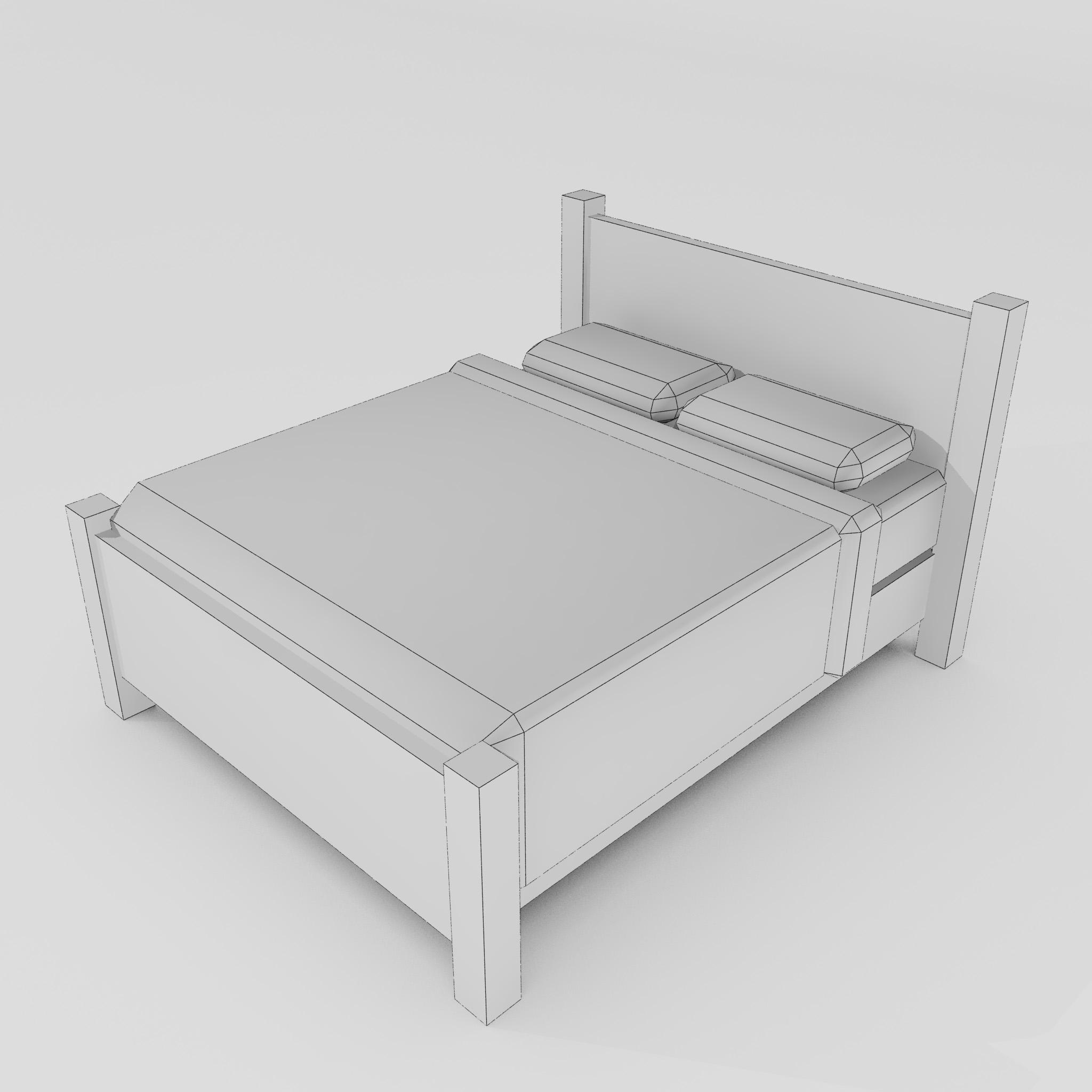 double bed 3d model 3ds max fbx obj 271947