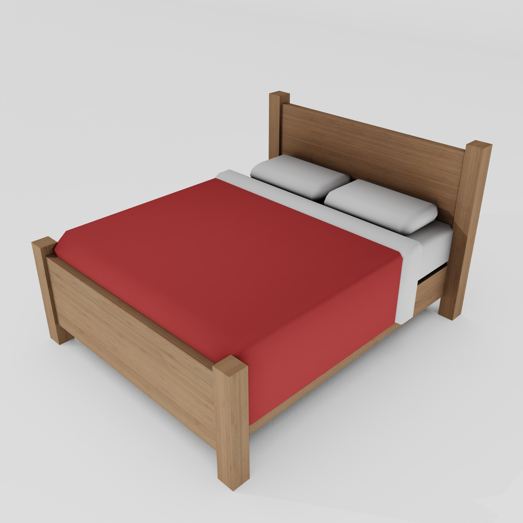 double bed 3d model 3ds max fbx obj 271948