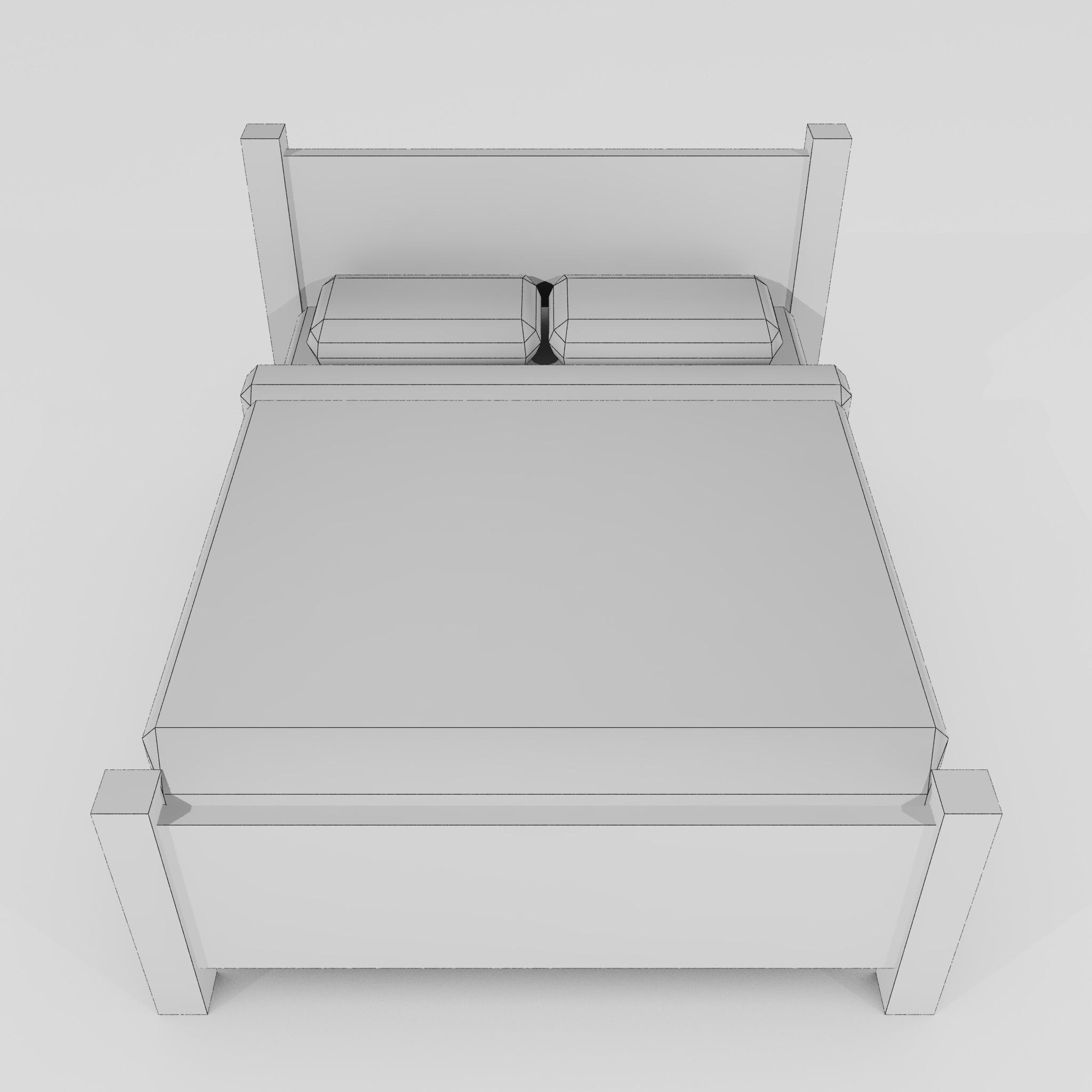 double bed 3d model 3ds max fbx obj 271949