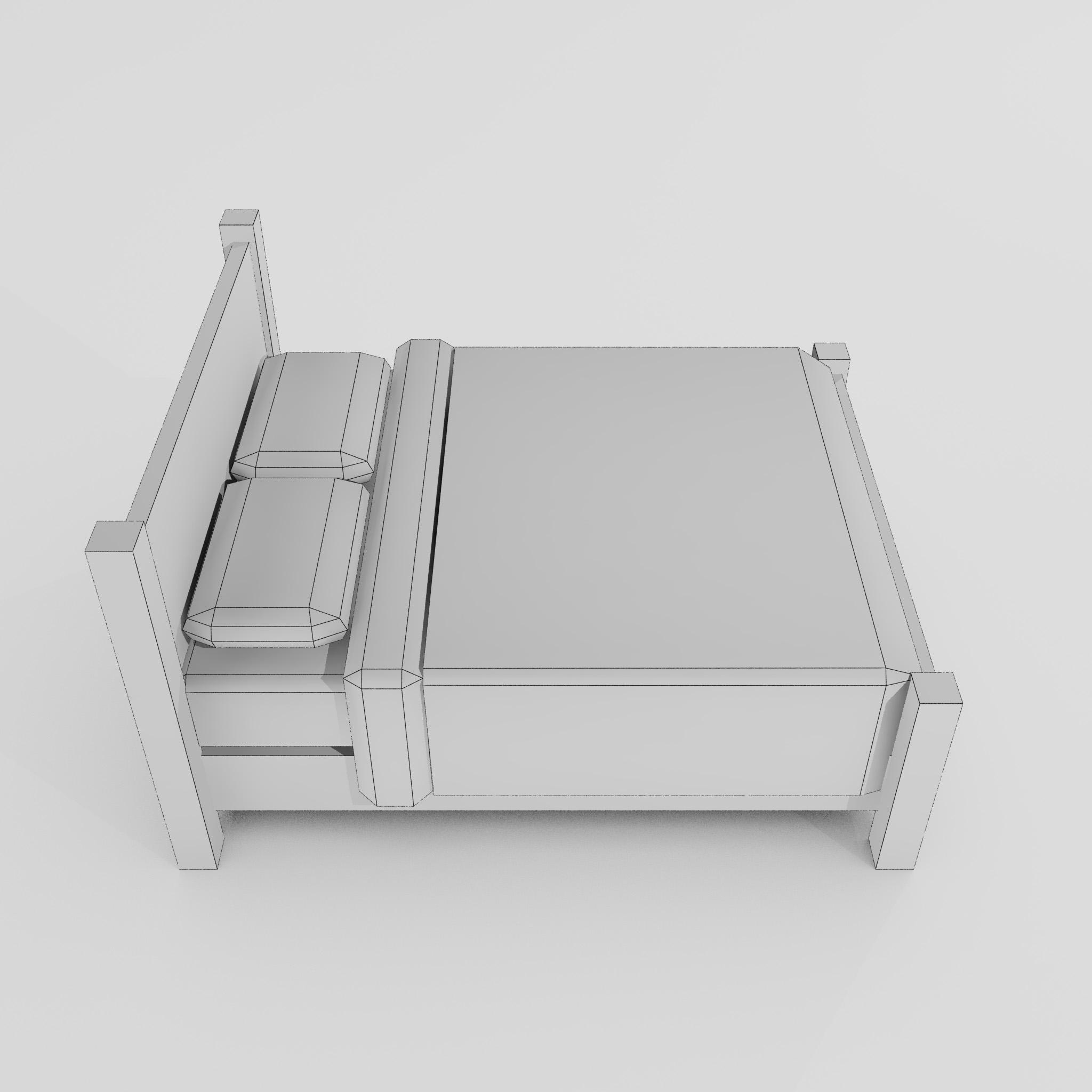 double bed 3d model 3ds max fbx obj 271951