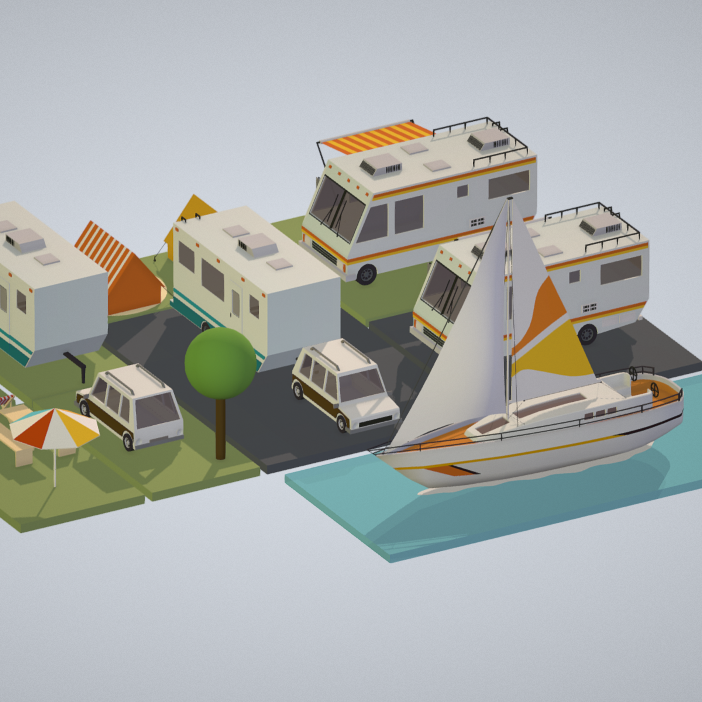 isometric transport holiday bbq camping 3d model max  fbx ma mb png obj 272009