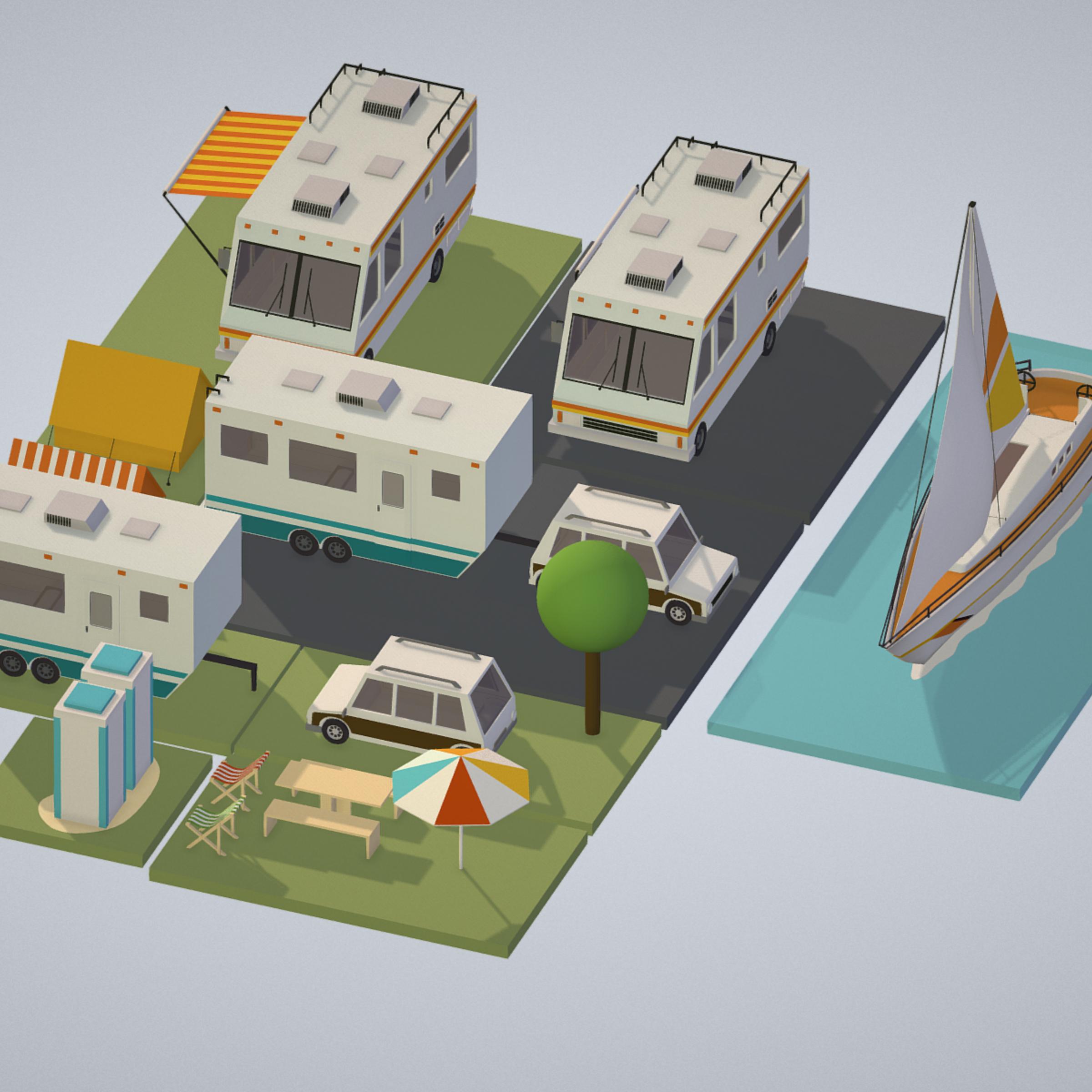 isometric transport holiday bbq camping 3d model max  fbx ma mb png obj 272011
