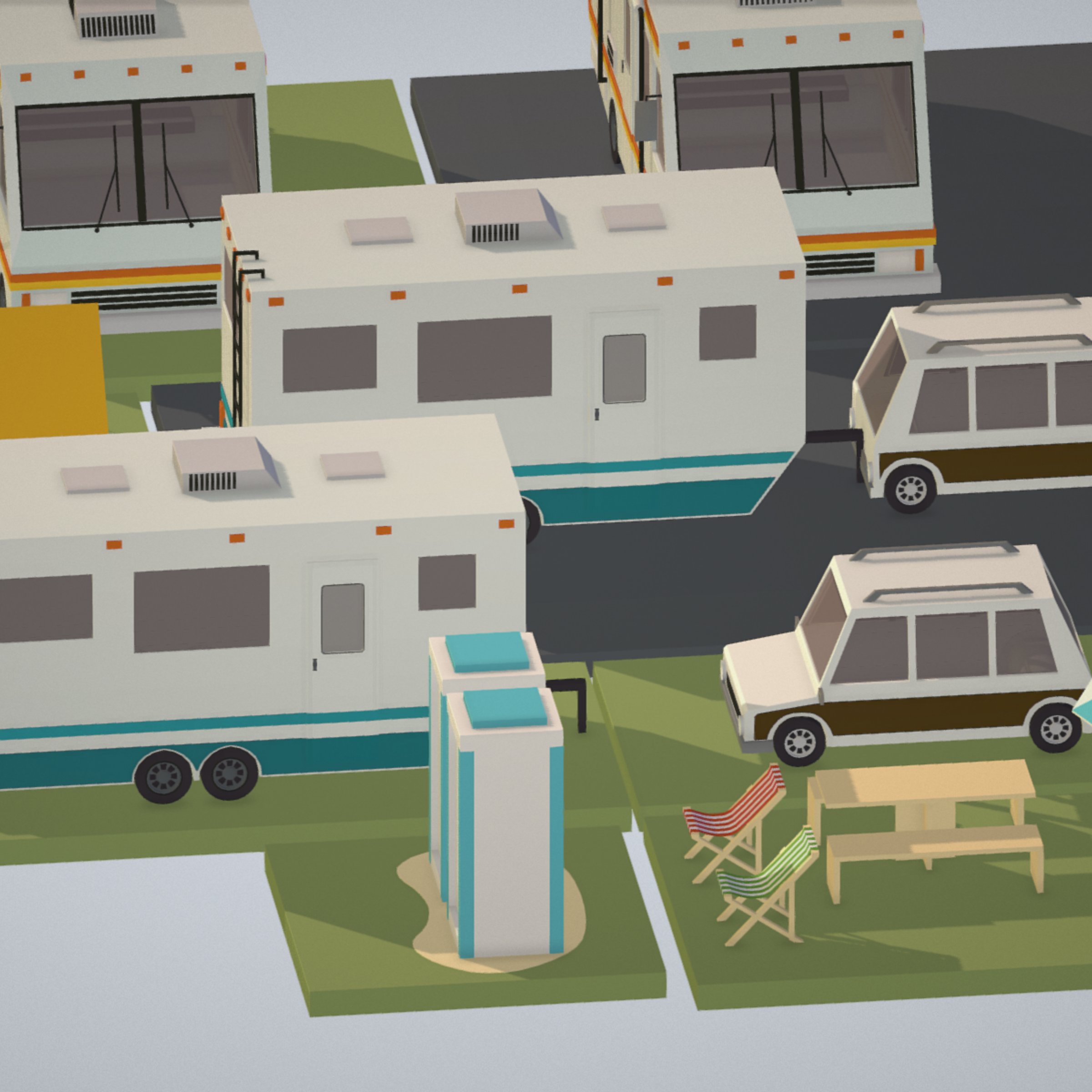isometric transport holiday bbq camping 3d model max  fbx ma mb png obj 272018