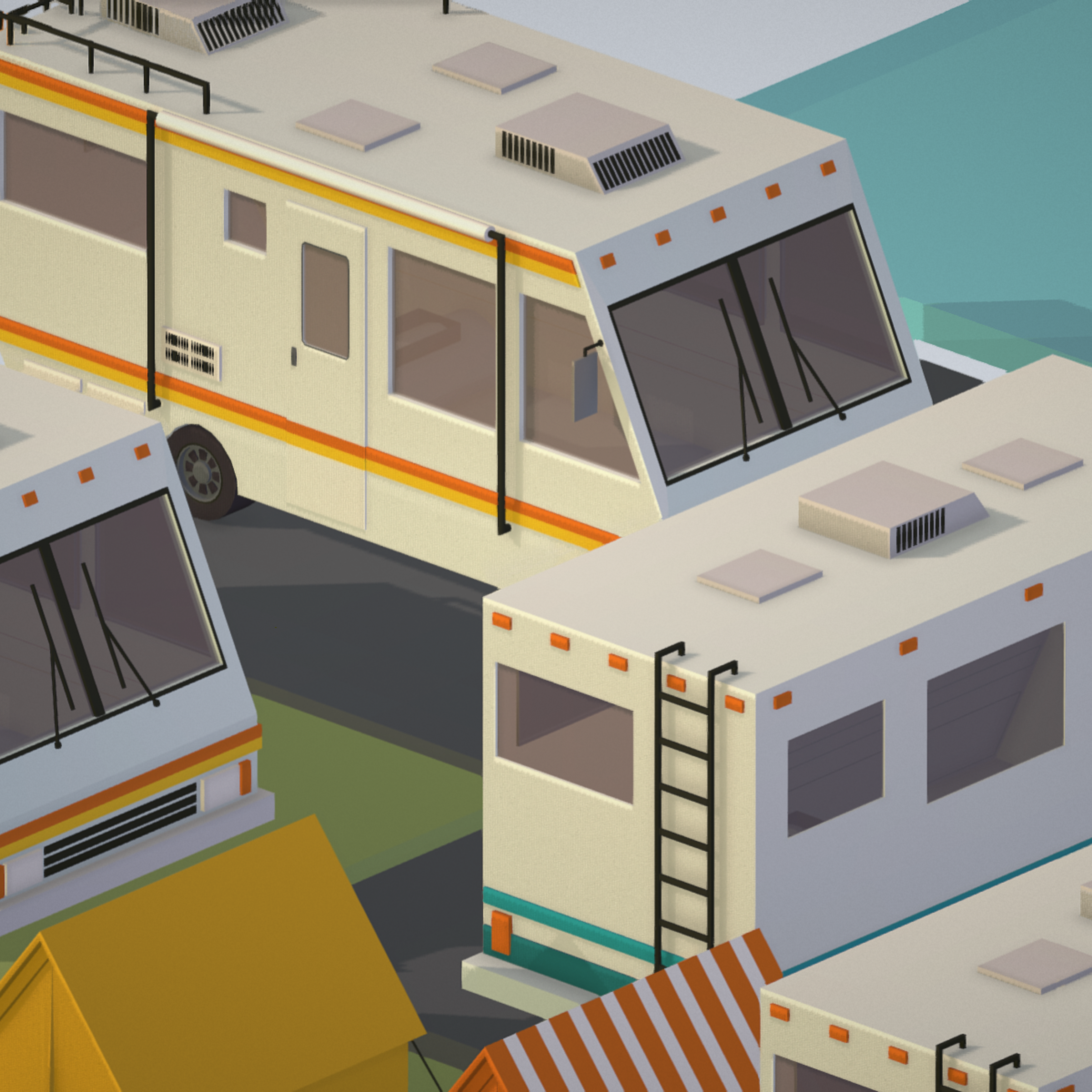 isometric transport holiday bbq camping 3d model max  fbx ma mb png obj 272020