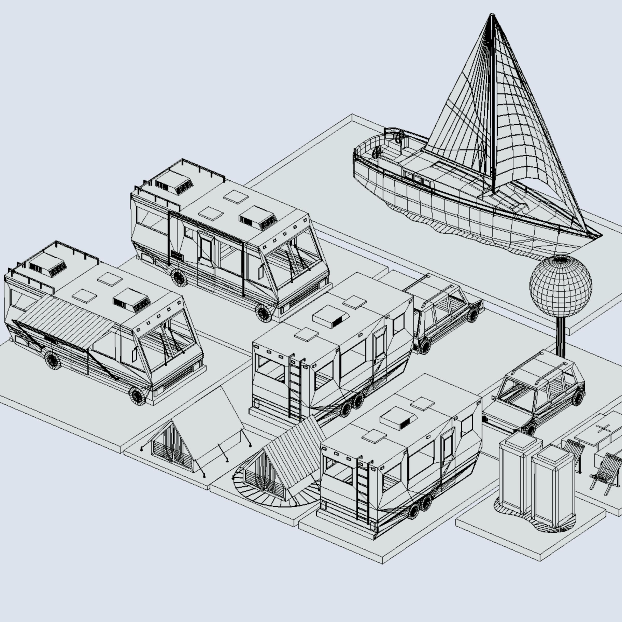 isometric transport holiday bbq camping 3d model max  fbx ma mb png obj 272027