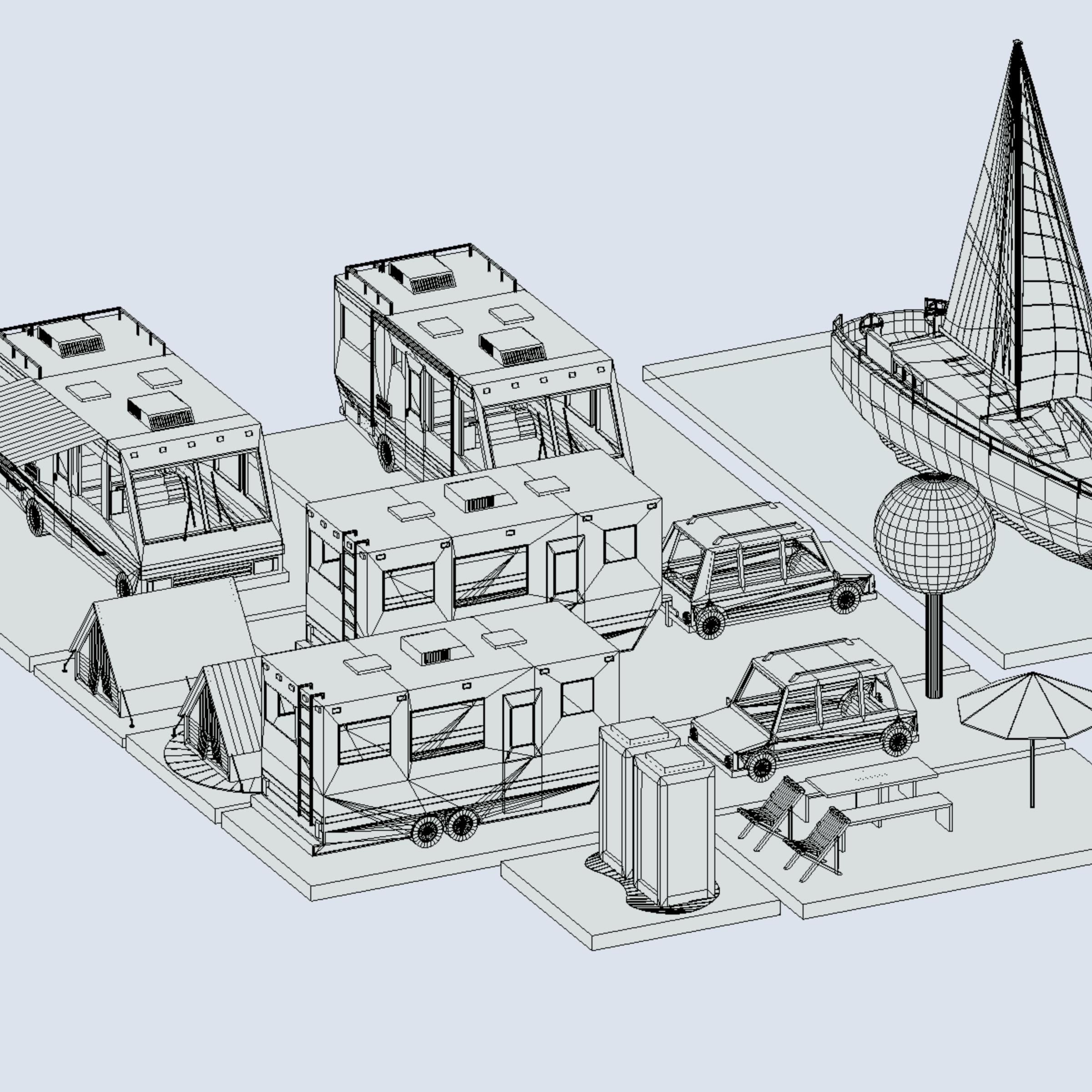 isometric transport holiday bbq camping 3d model max  fbx ma mb png obj 272028