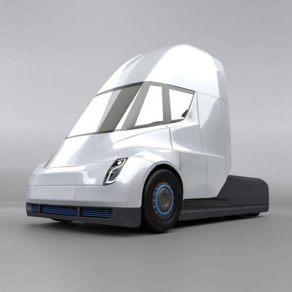 Tesla electric semi truck 3d model 3ds fbx blend dae lwo lws lw obj 272042