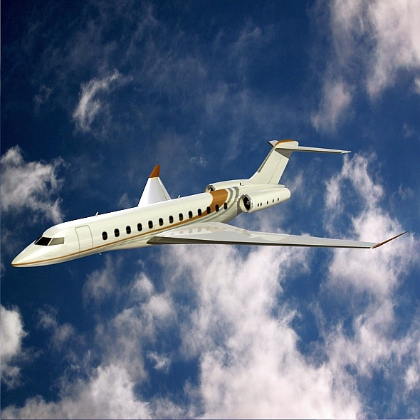 bombardier global 8000 private jet 3d model 3ds fbx blend dae lwo obj 272124