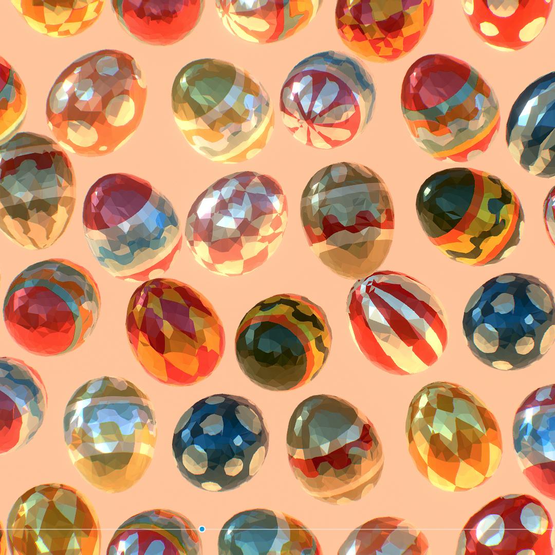 low poly art animated easter ornamental eggs 3d model max  fbx jpeg jpg ma mb obj 272184