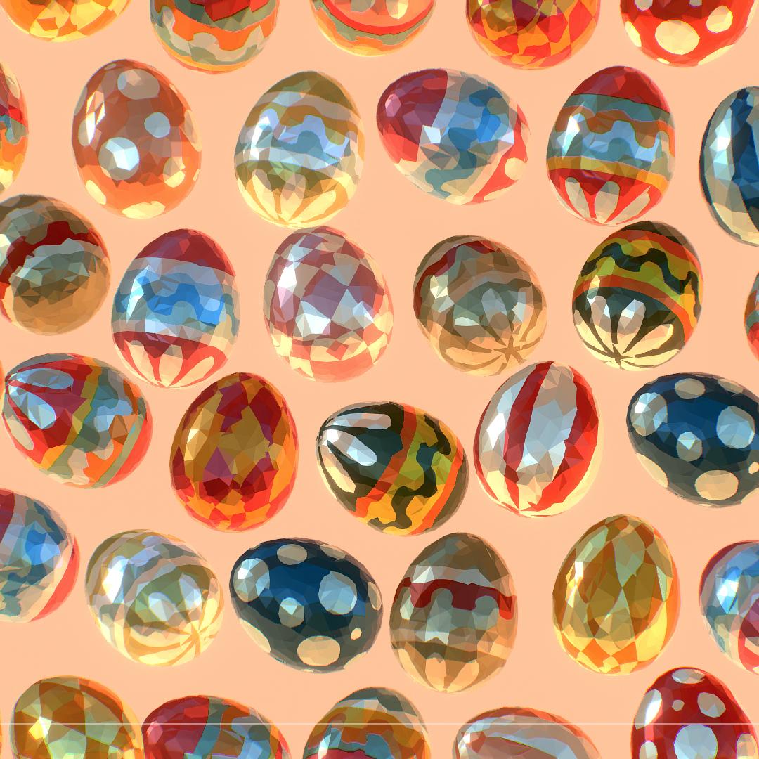 low poly art animated easter ornamental eggs 3d model max  fbx jpeg jpg ma mb obj 272185