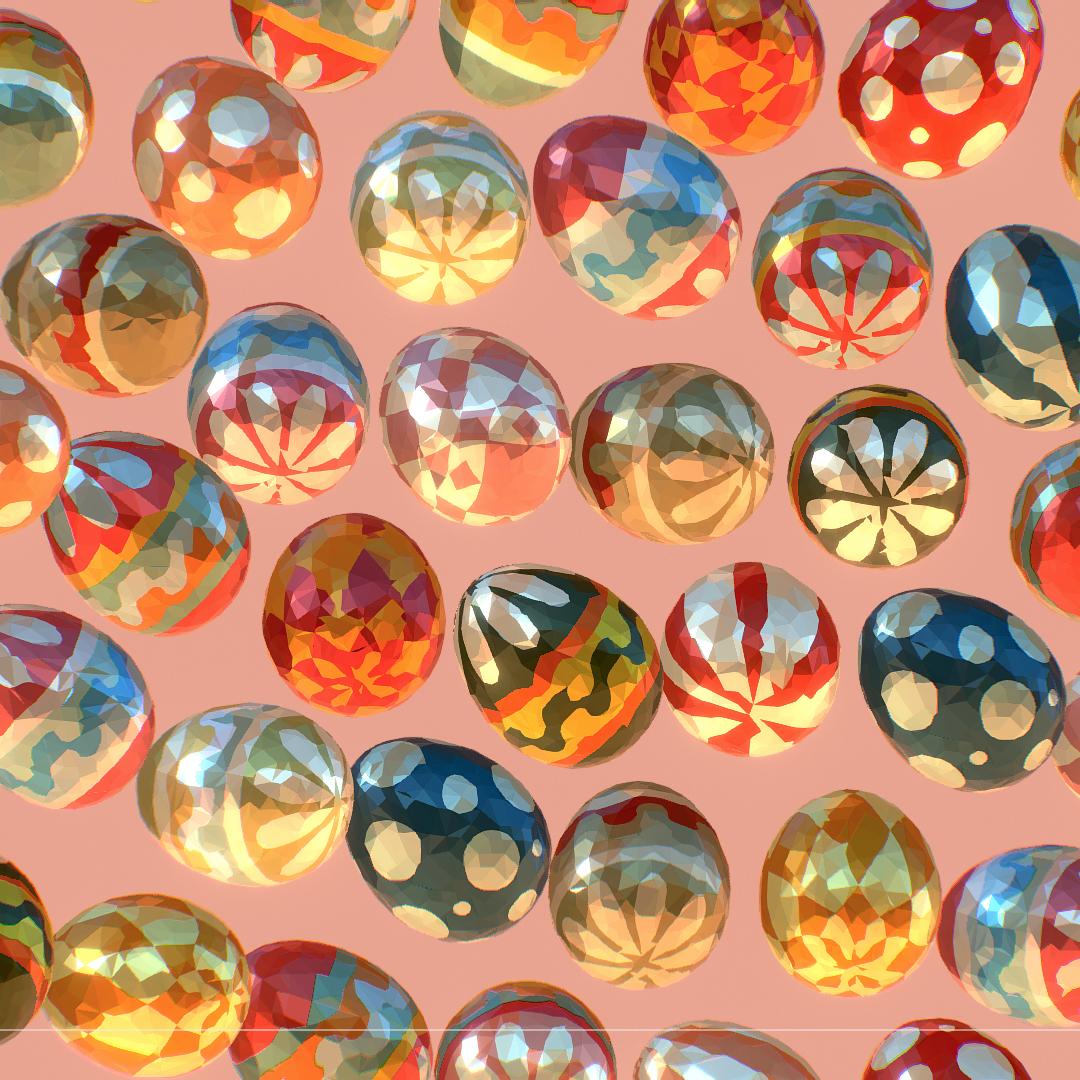 poli rendah seni animasi easter hiasan telur Model 3d max fbx jpeg jpg ma mb obj 272186