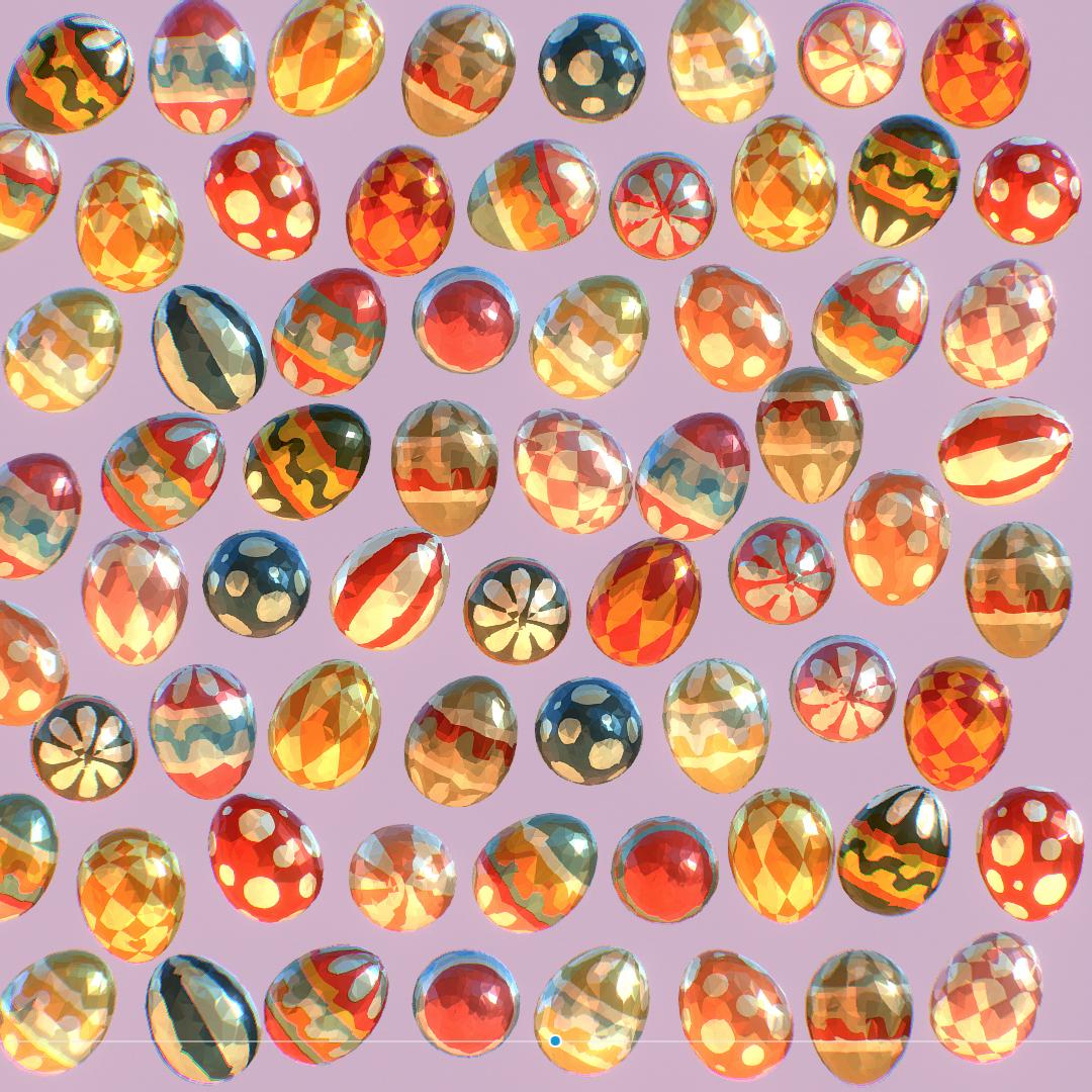 low poly art animated easter ornamental eggs 3d model max  fbx jpeg jpg ma mb obj 272193