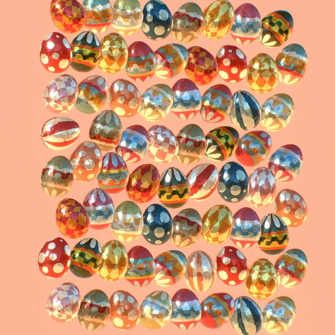 poli rendah seni animasi easter hiasan telur Model 3d max fbx jpeg jpg ma mb obj 272194