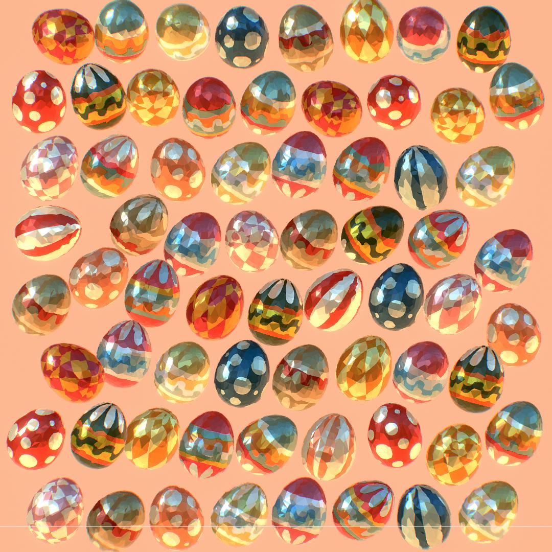low poly art animated easter ornamental eggs 3d model max  fbx jpeg jpg ma mb obj 272195