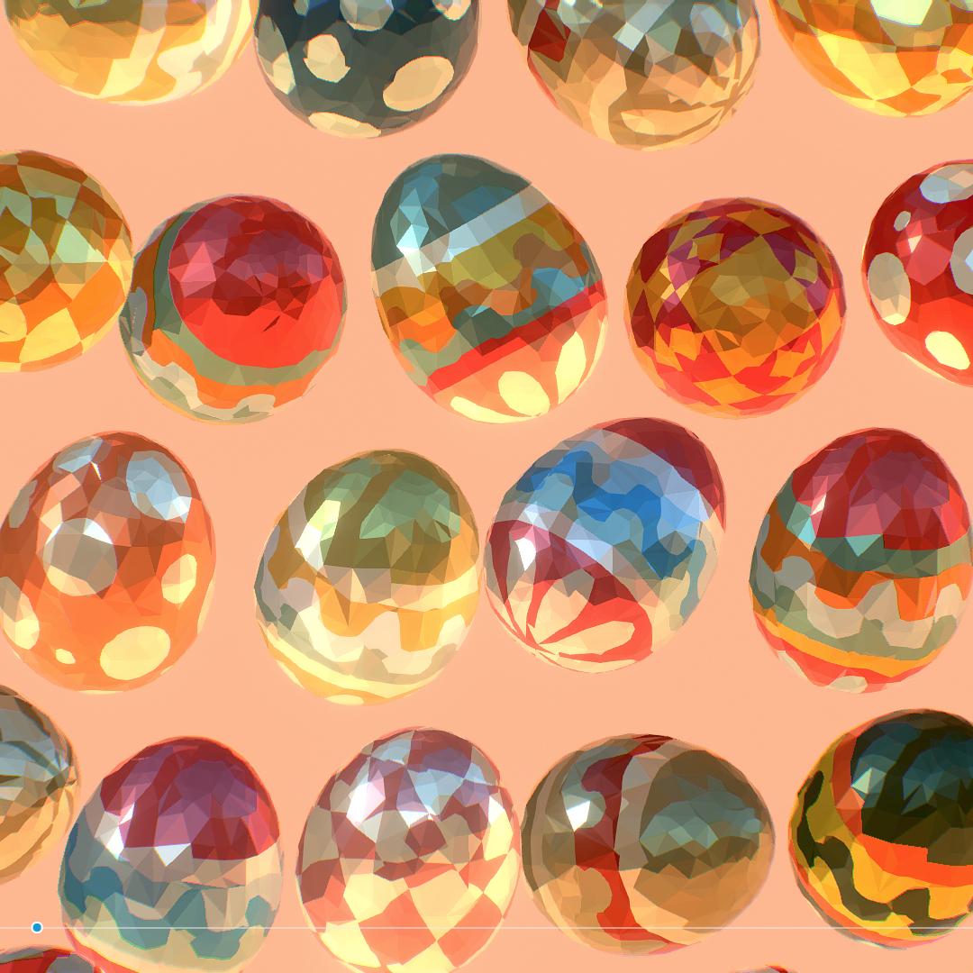 low poly art animated easter ornamental eggs 3d model max  fbx jpeg jpg ma mb obj 272197