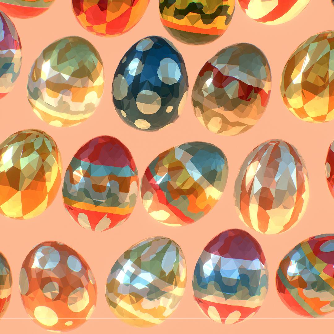 low poly art animated easter ornamental eggs 3d model max  fbx jpeg jpg ma mb obj 272198