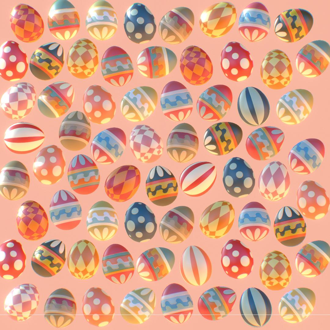 Subdivision Animated Easter Ornamental Eggs 3d model max 3ds max plugin fbx jpeg ma mb obj 272204