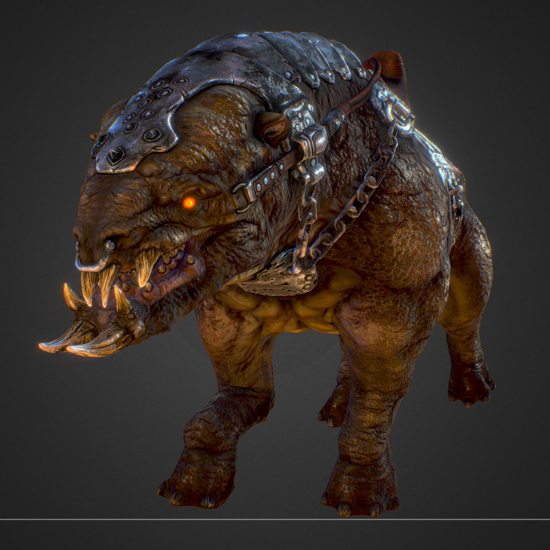 creature mount mastodont 3d model max  fbx ma mb obj 272417
