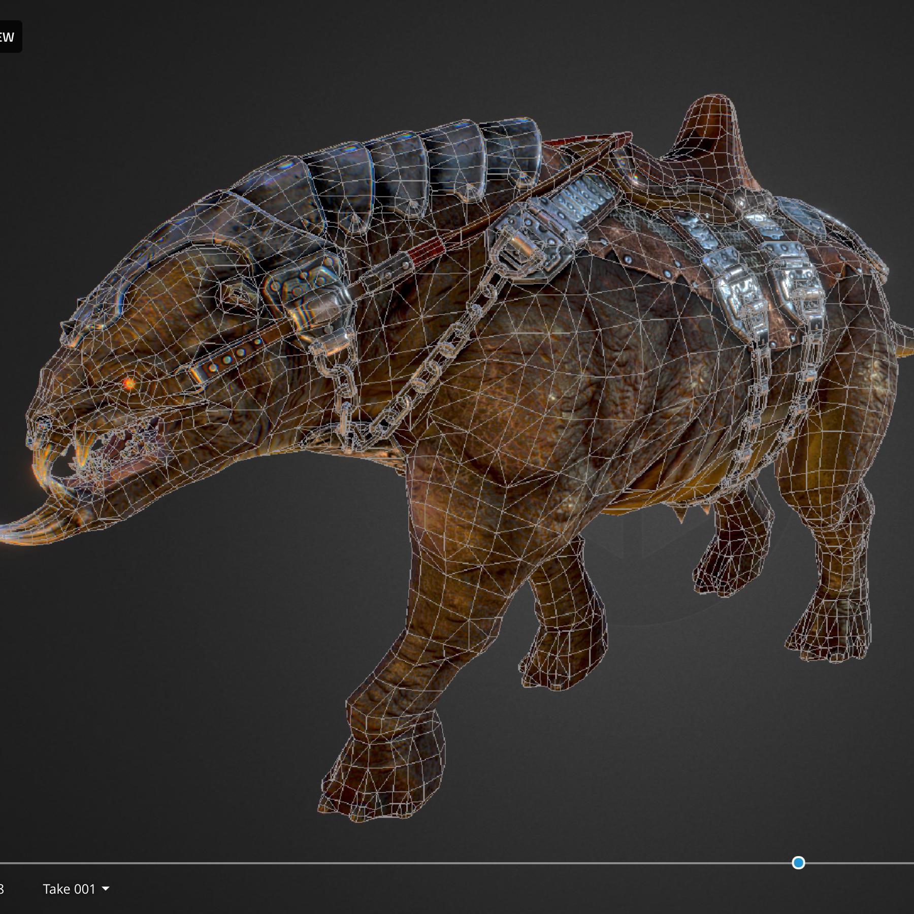 creature mount mastodont 3d model max  fbx ma mb obj 272430
