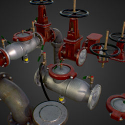 Low Poly Game Backflow Water Pipe Constructor 3d model 0