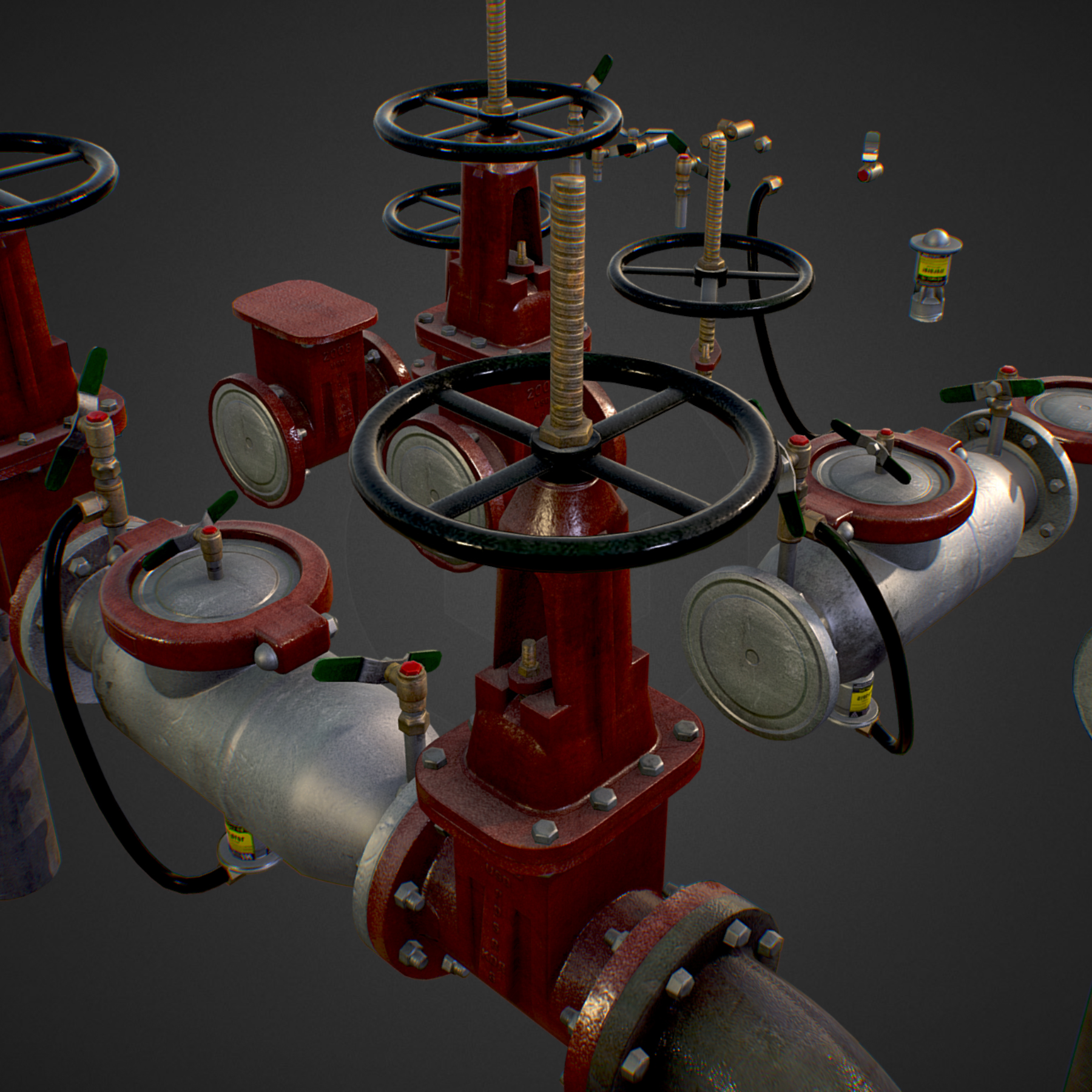 low poly game backflow water pipe constructor 3d model max  fbx ma mb tga targa icb vda vst pix obj 272462