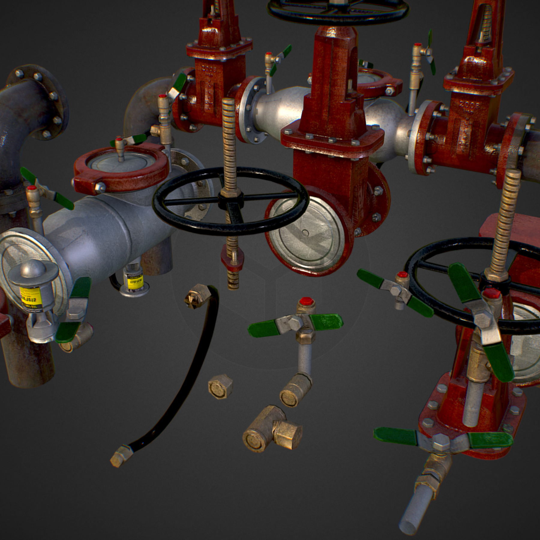 low poly game backflow water pipe constructor 3d model max  fbx ma mb tga targa icb vda vst pix obj 272469