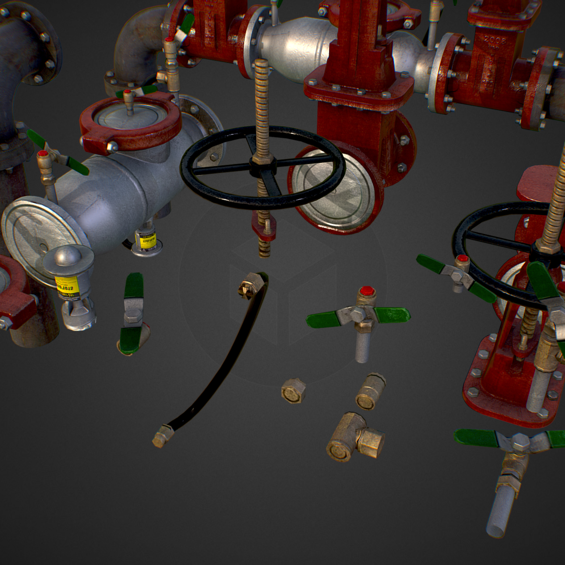low poly game backflow water pipe constructor 3d model max  fbx ma mb tga targa icb vda vst pix obj 272470
