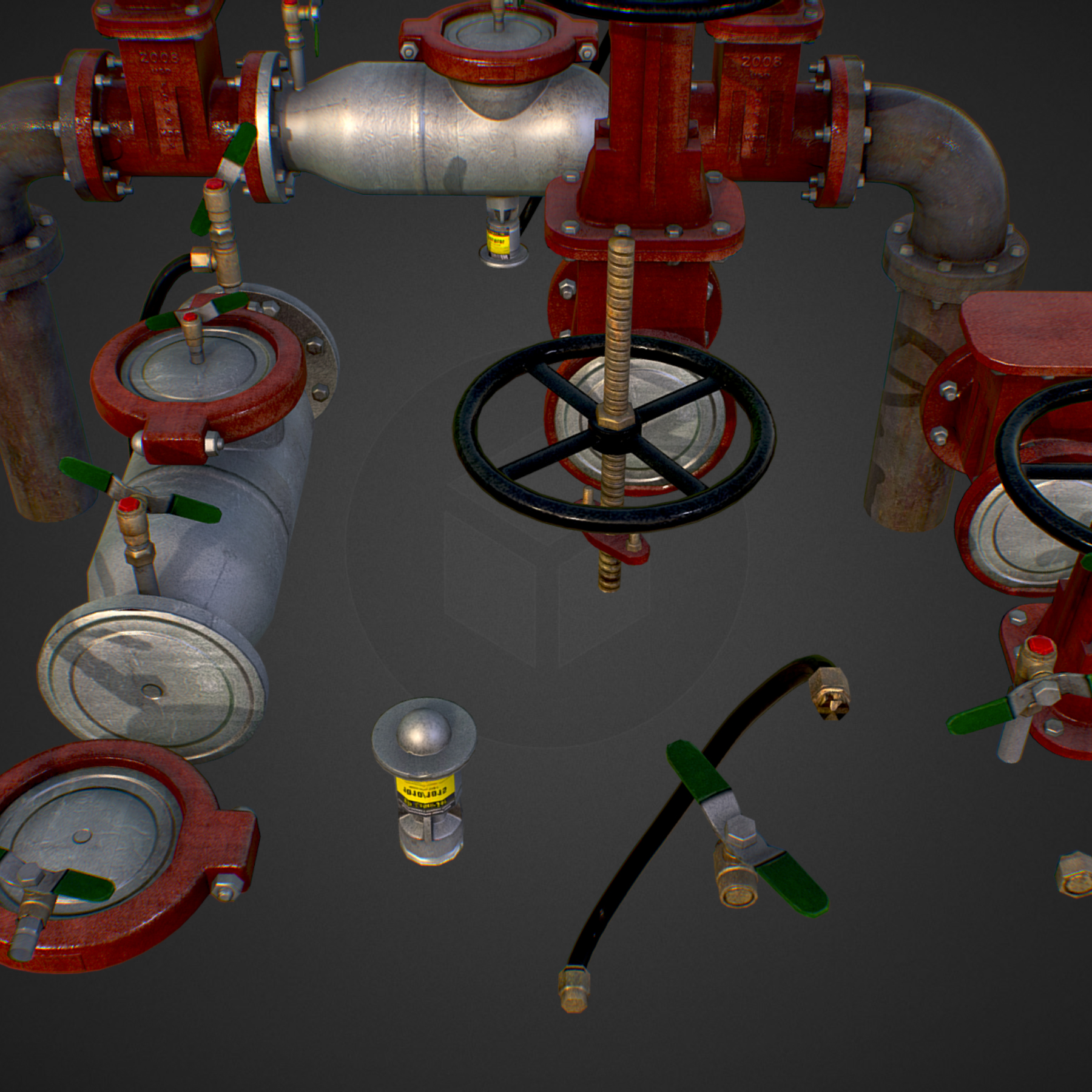 low poly game backflow water pipe constructor 3d model max  fbx ma mb tga targa icb vda vst pix obj 272471