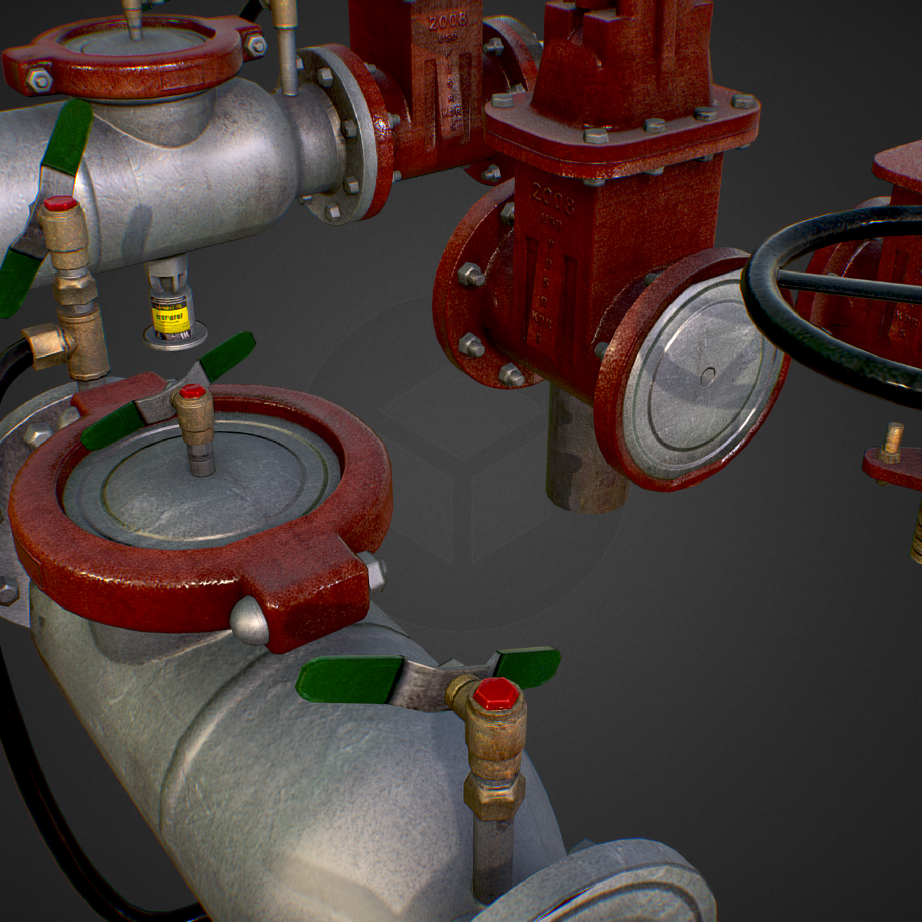 low poly game backflow water pipe constructor 3d model max  fbx ma mb tga targa icb vda vst pix obj 272473