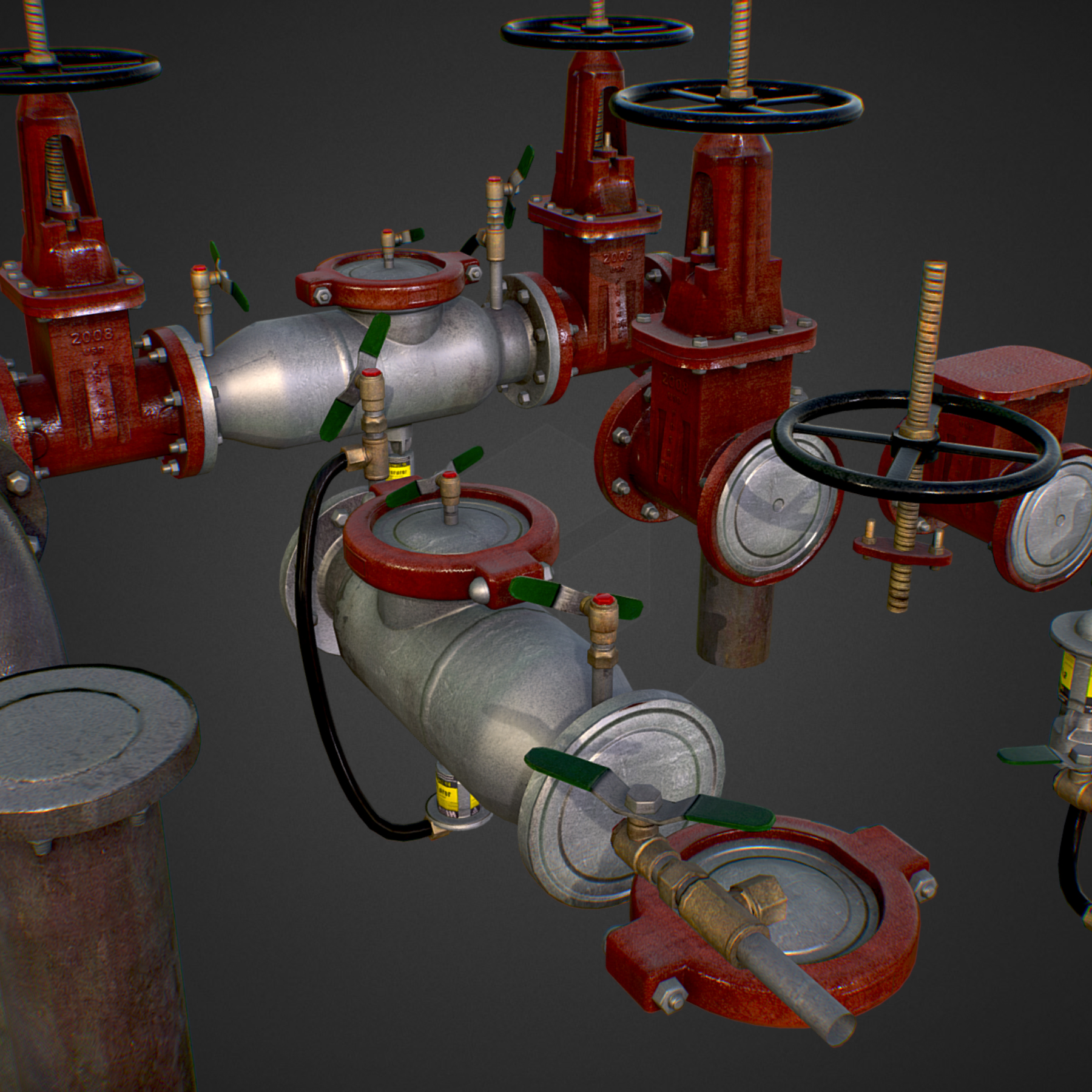low poly game backflow water pipe constructor 3d model max  fbx ma mb tga targa icb vda vst pix obj 272481