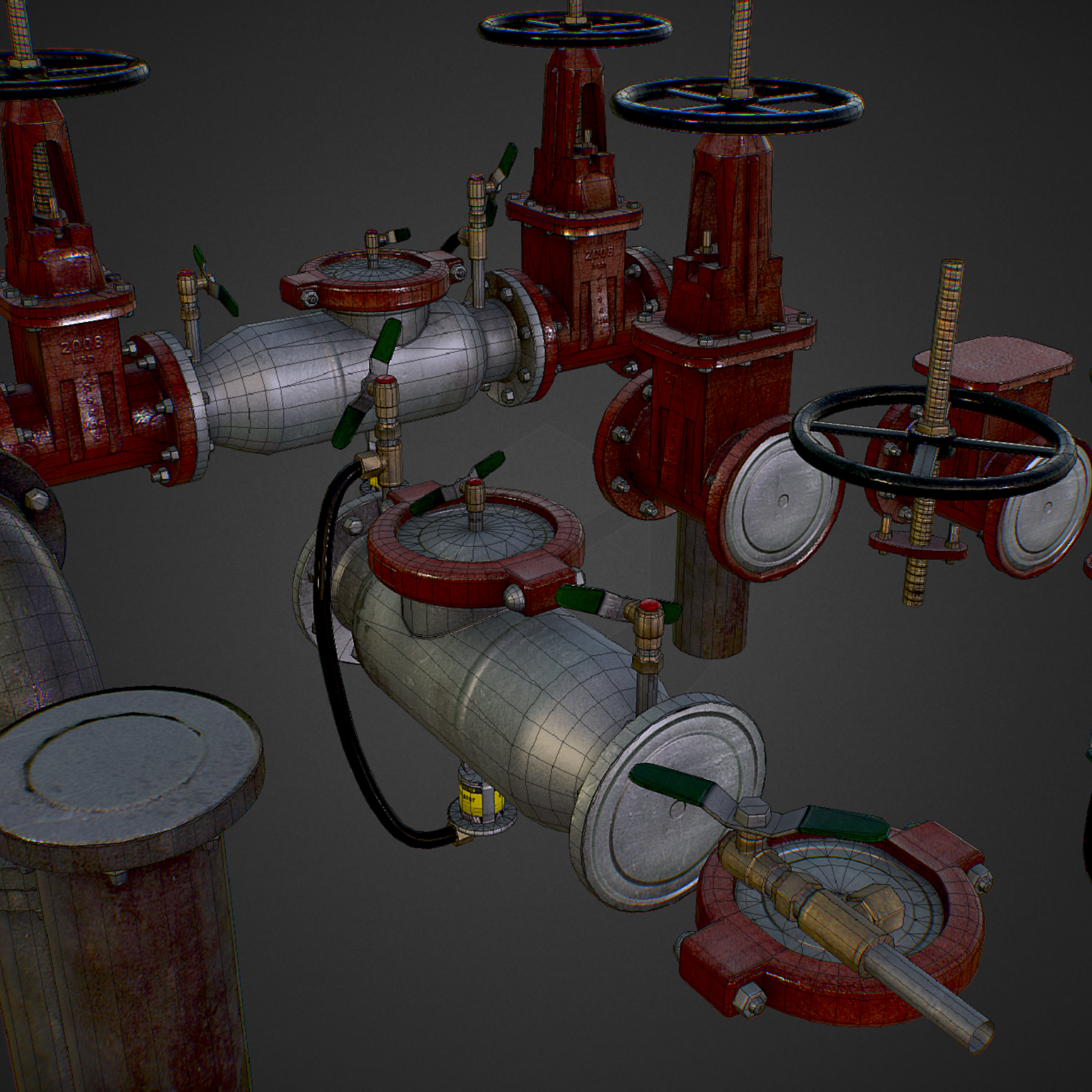 low poly game backflow water pipe constructor 3d model max  fbx ma mb tga targa icb vda vst pix obj 272482