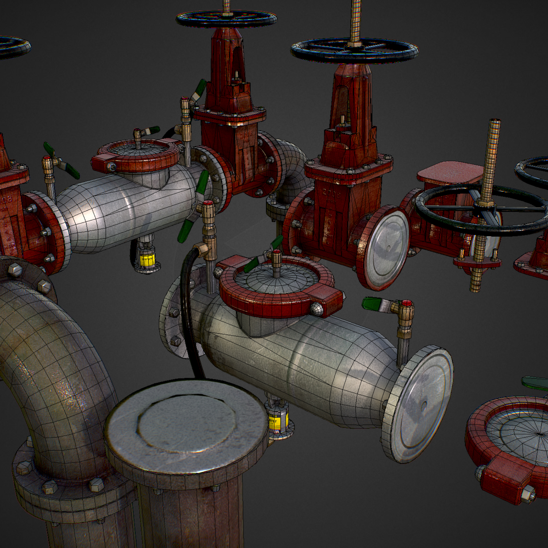 low poly game backflow water pipe constructor 3d model max  fbx ma mb tga targa icb vda vst pix obj 272483