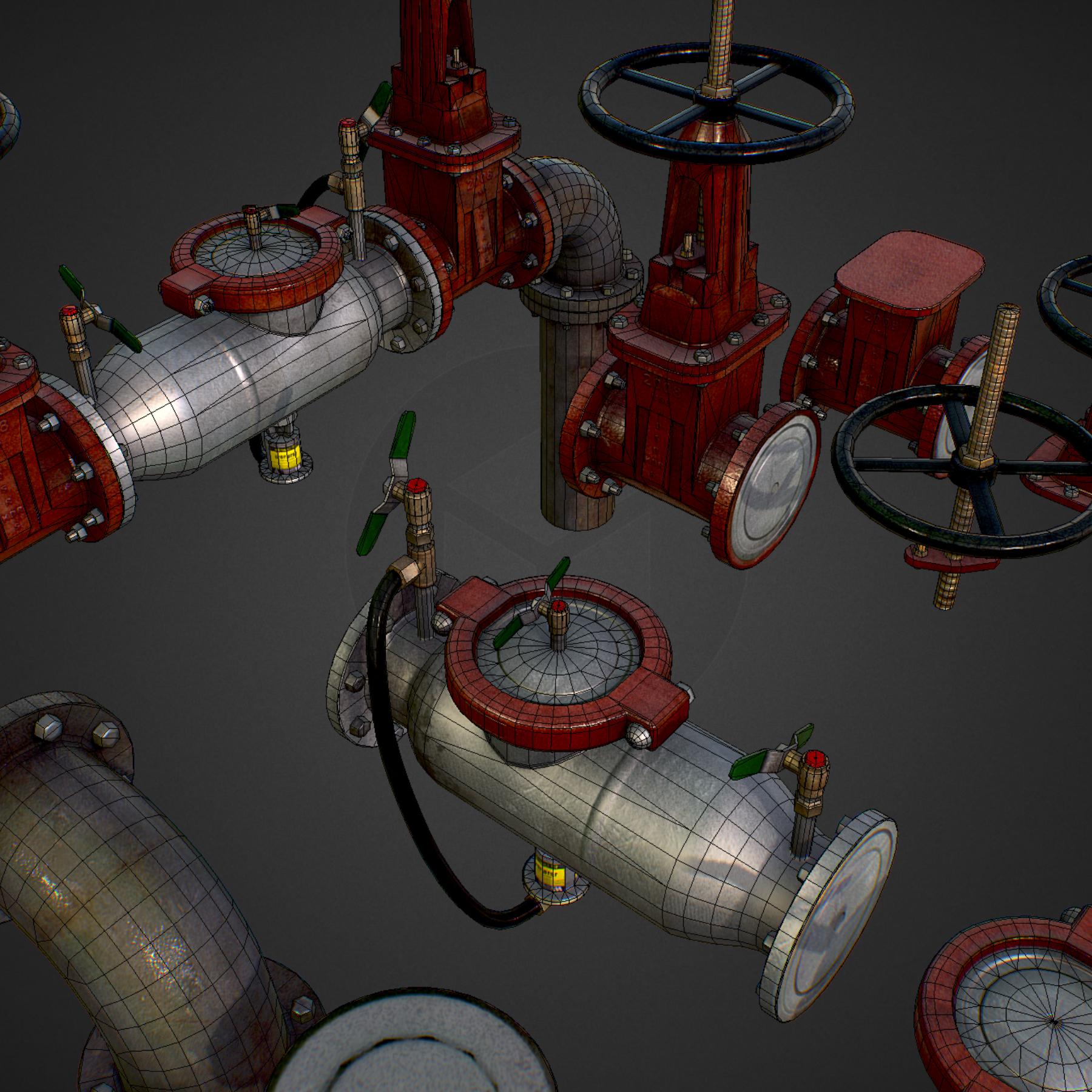 low poly game backflow water pipe constructor 3d model max  fbx ma mb tga targa icb vda vst pix obj 272484