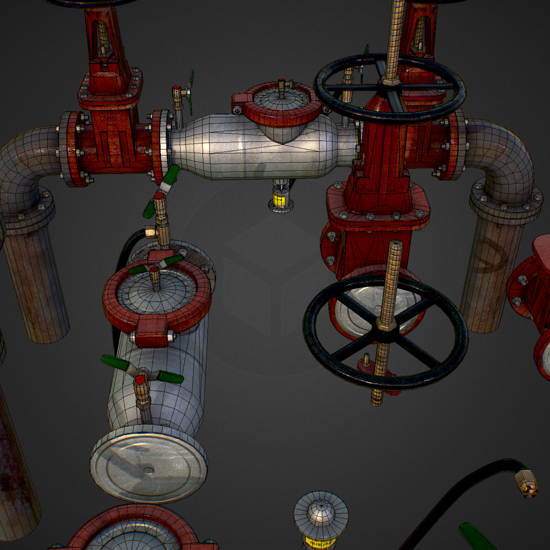 low poly game backflow water pipe constructor 3d model max  fbx ma mb tga targa icb vda vst pix obj 272485