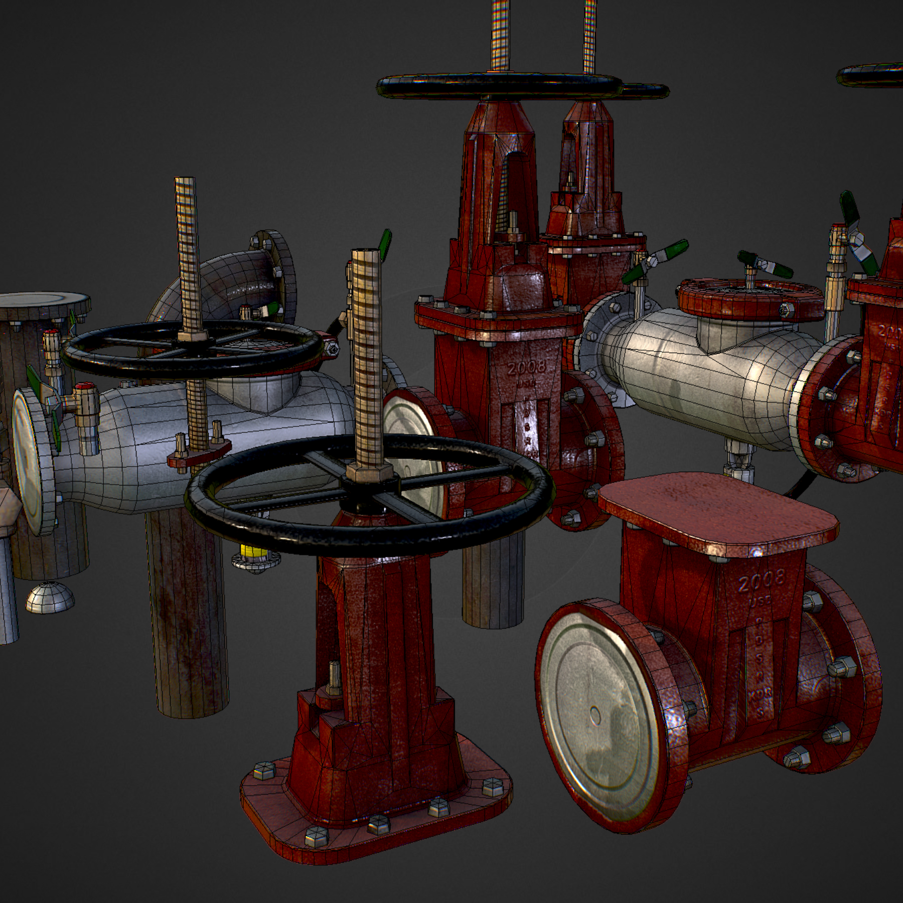 low poly game backflow water pipe constructor 3d model max  fbx ma mb tga targa icb vda vst pix obj 272486