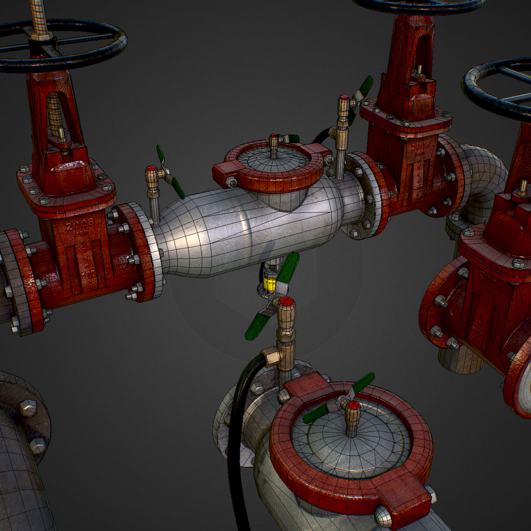 low poly game backflow water pipe constructor 3d model max  fbx ma mb tga targa icb vda vst pix obj 272489