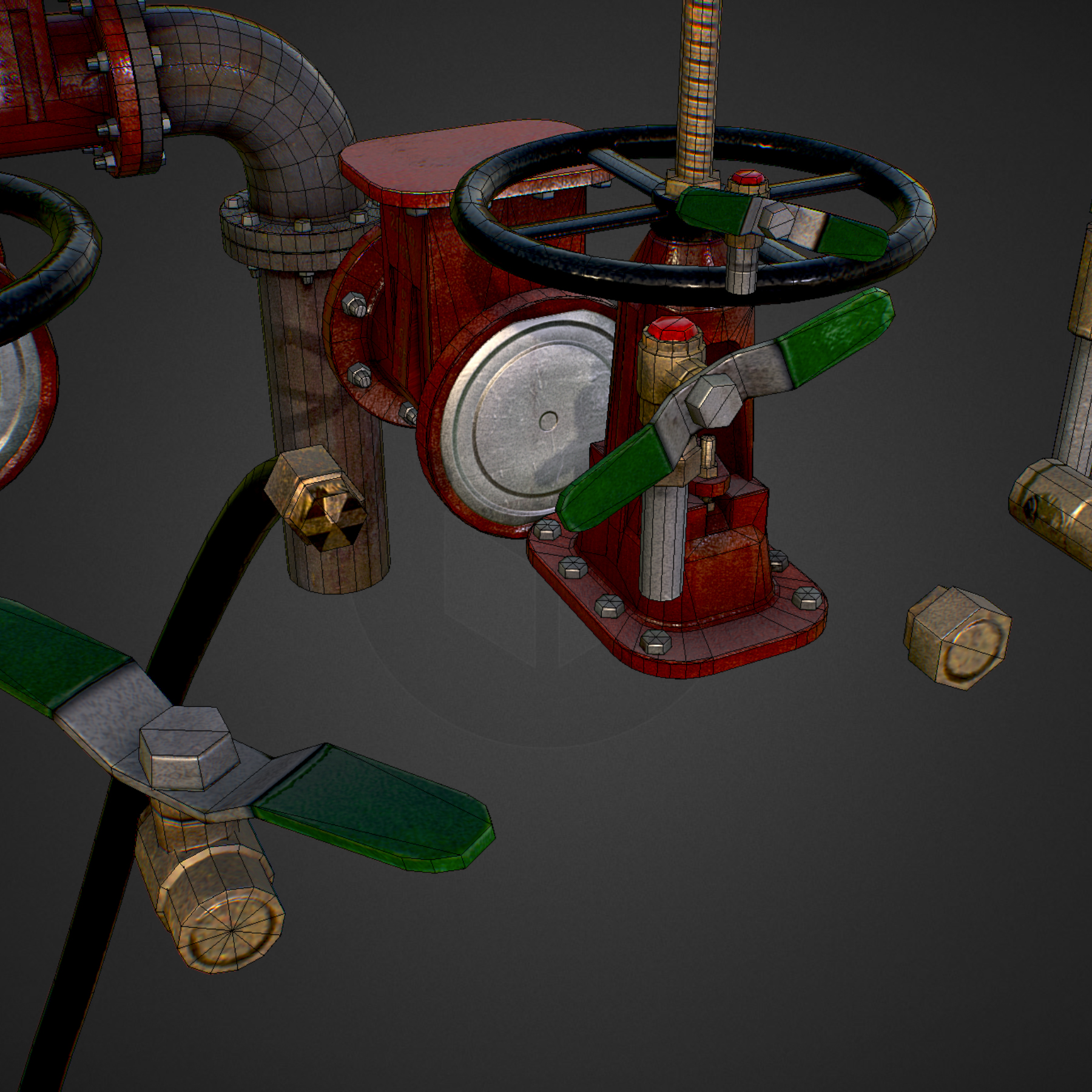 low poly game backflow water pipe constructor 3d model max  fbx ma mb tga targa icb vda vst pix obj 272490