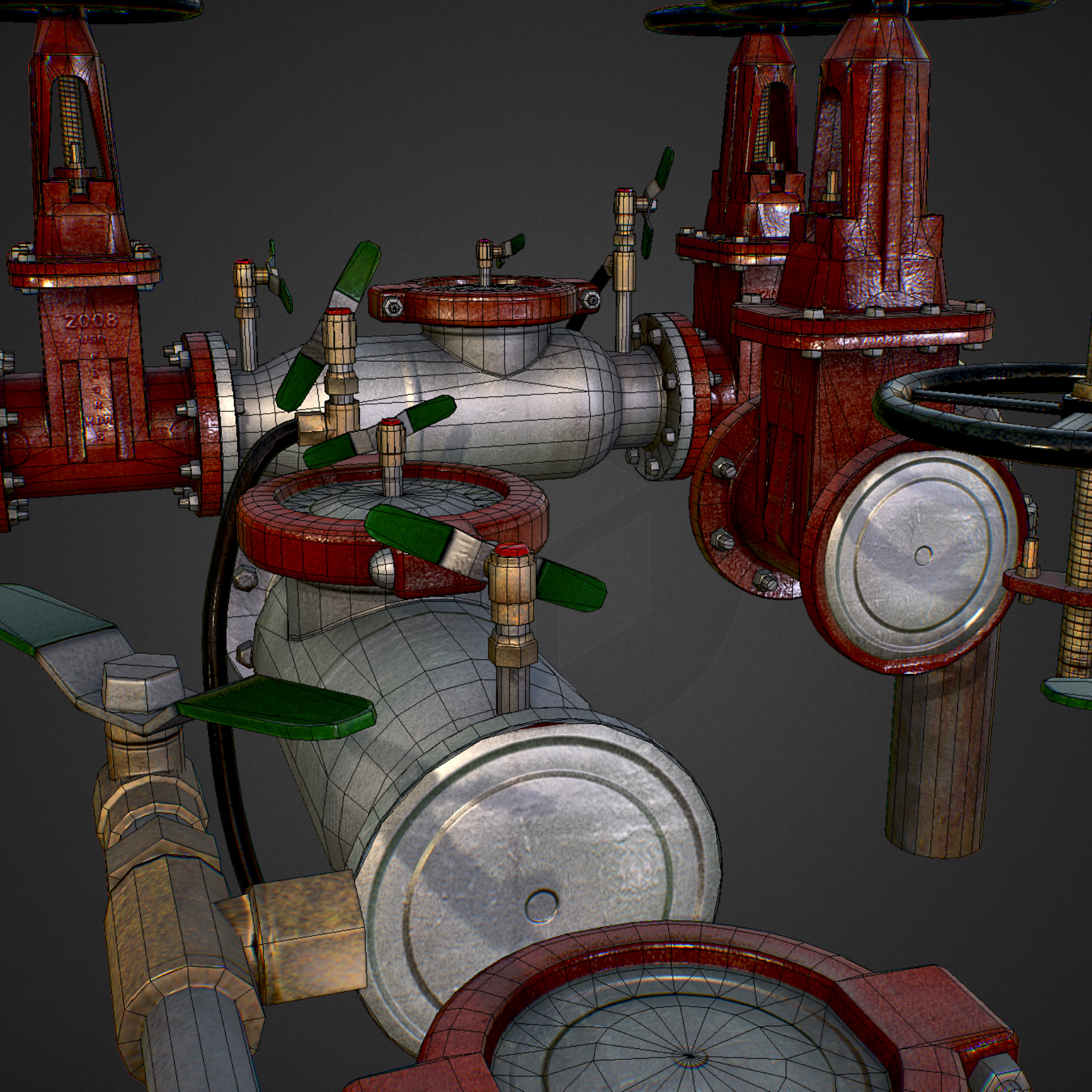 low poly game backflow water pipe constructor 3d model max  fbx ma mb tga targa icb vda vst pix obj 272493