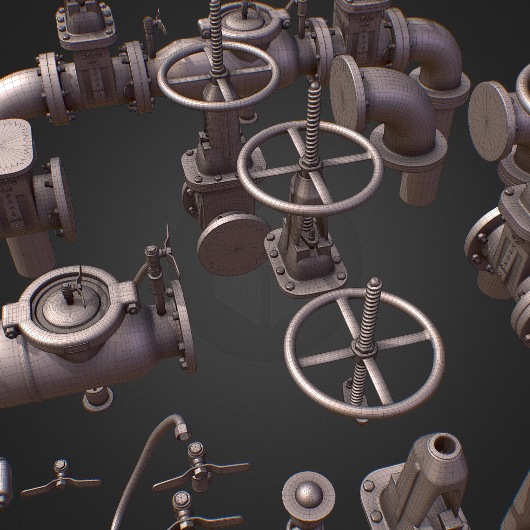 hi poly subdivision backflow pipe constructor 3d model max  fbx ma mb obj 272509