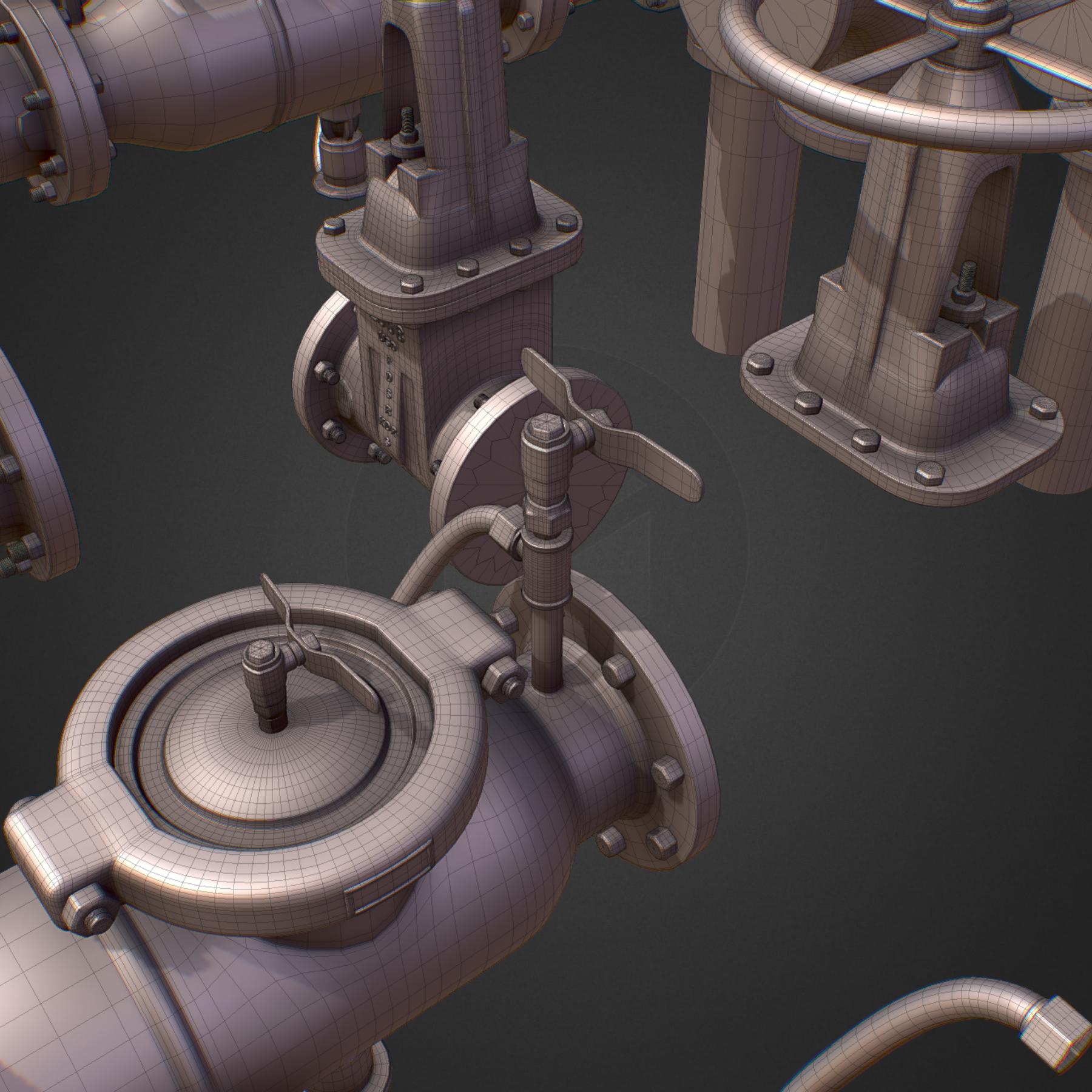 hi poly subdivision backflow pipe constructor 3d model max  fbx ma mb obj 272510
