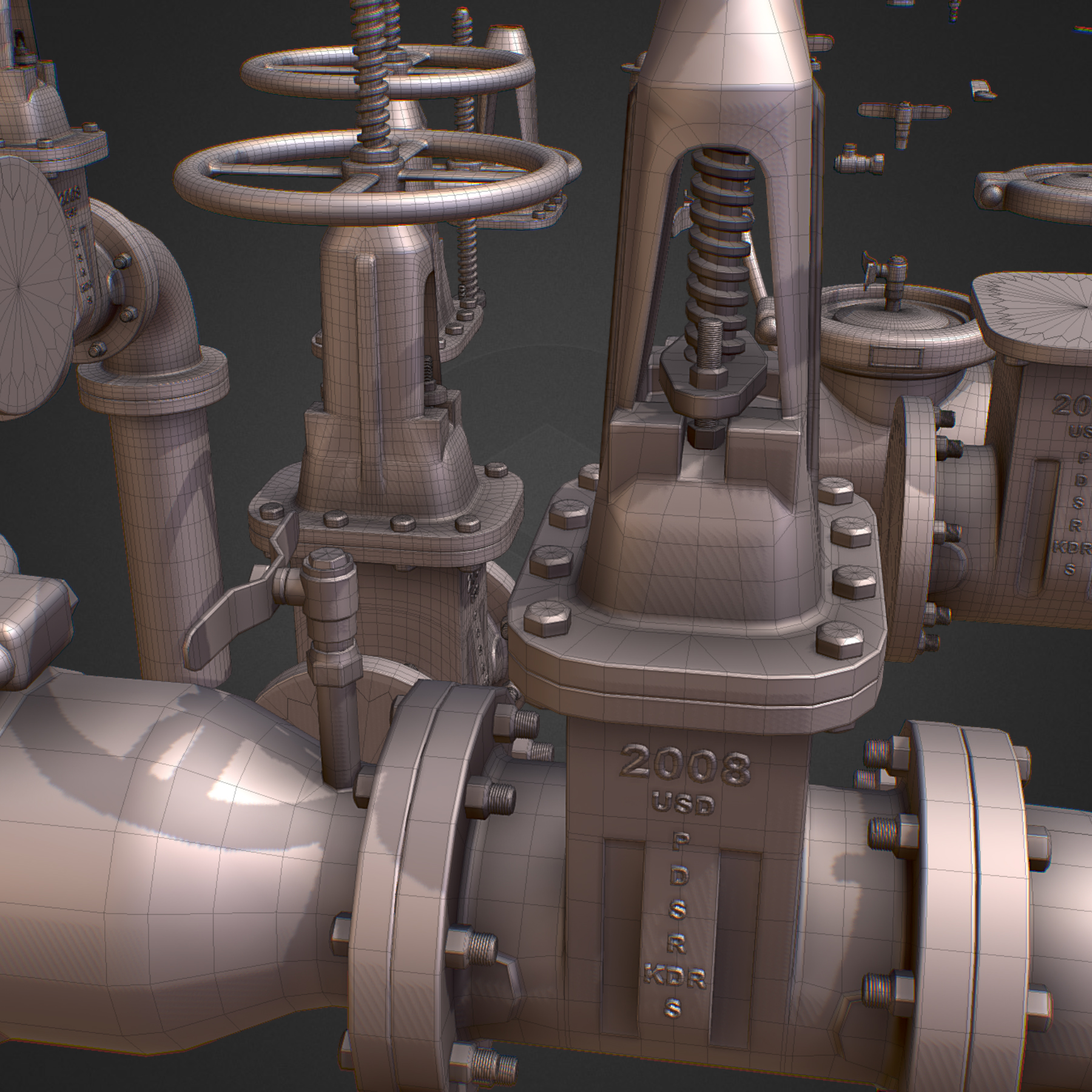 hi poly subdivision backflow pipe constructor 3d model max  fbx ma mb obj 272512