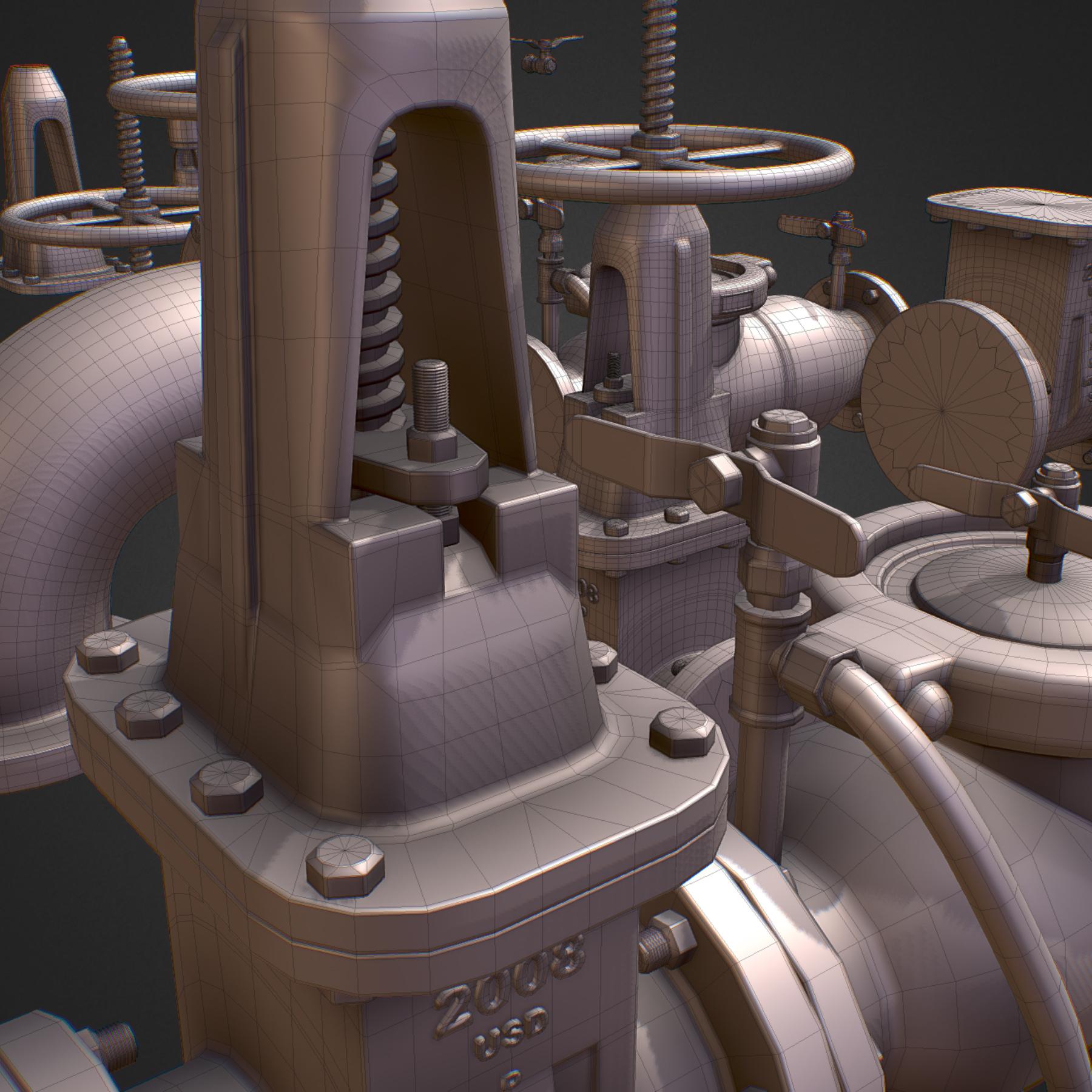 hi poly subdivision backflow pipe constructor 3d model max  fbx ma mb obj 272513