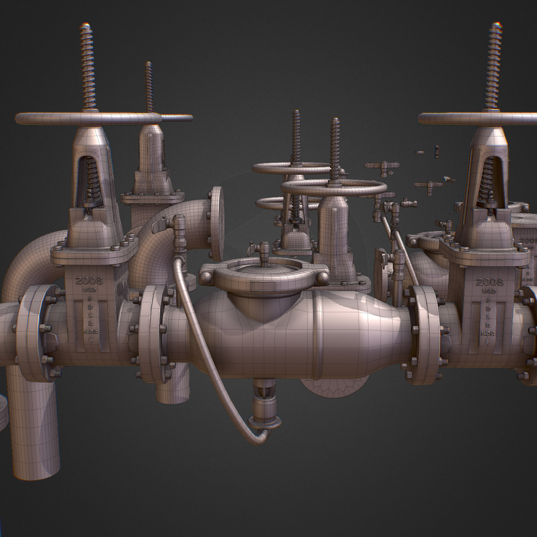 hi poly subdivision backflow pipe constructor 3d model max  fbx ma mb obj 272523