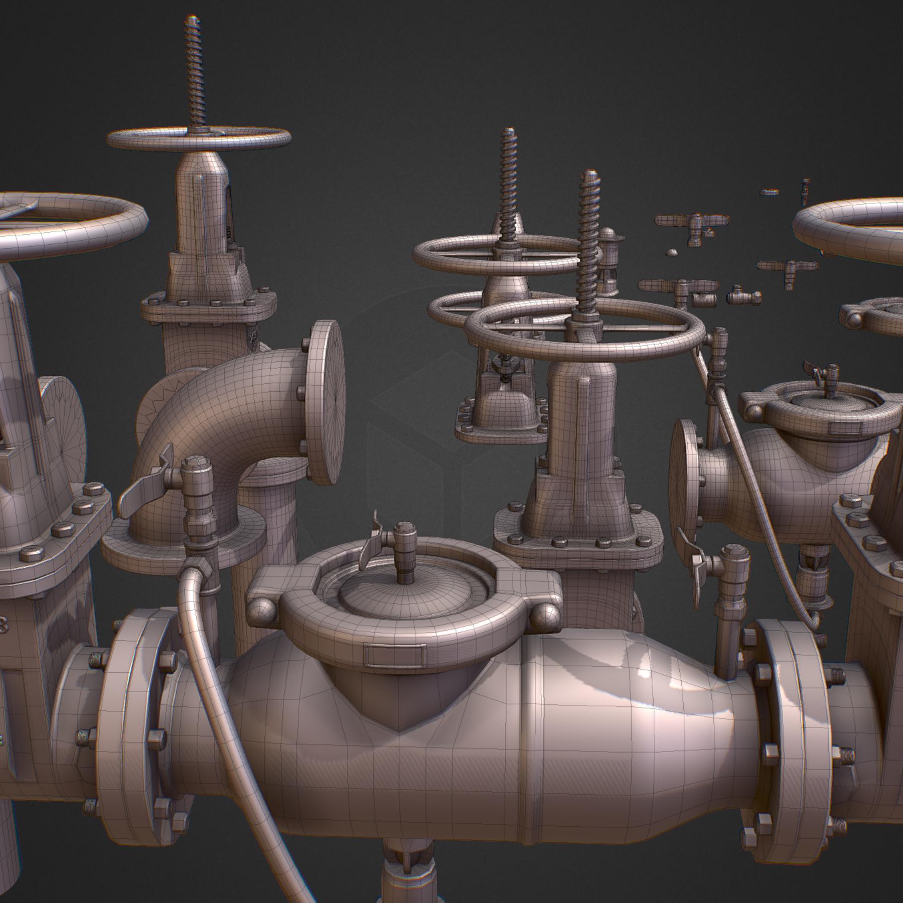 hi poly subdivision backflow pipe constructor 3d model max  fbx ma mb obj 272524
